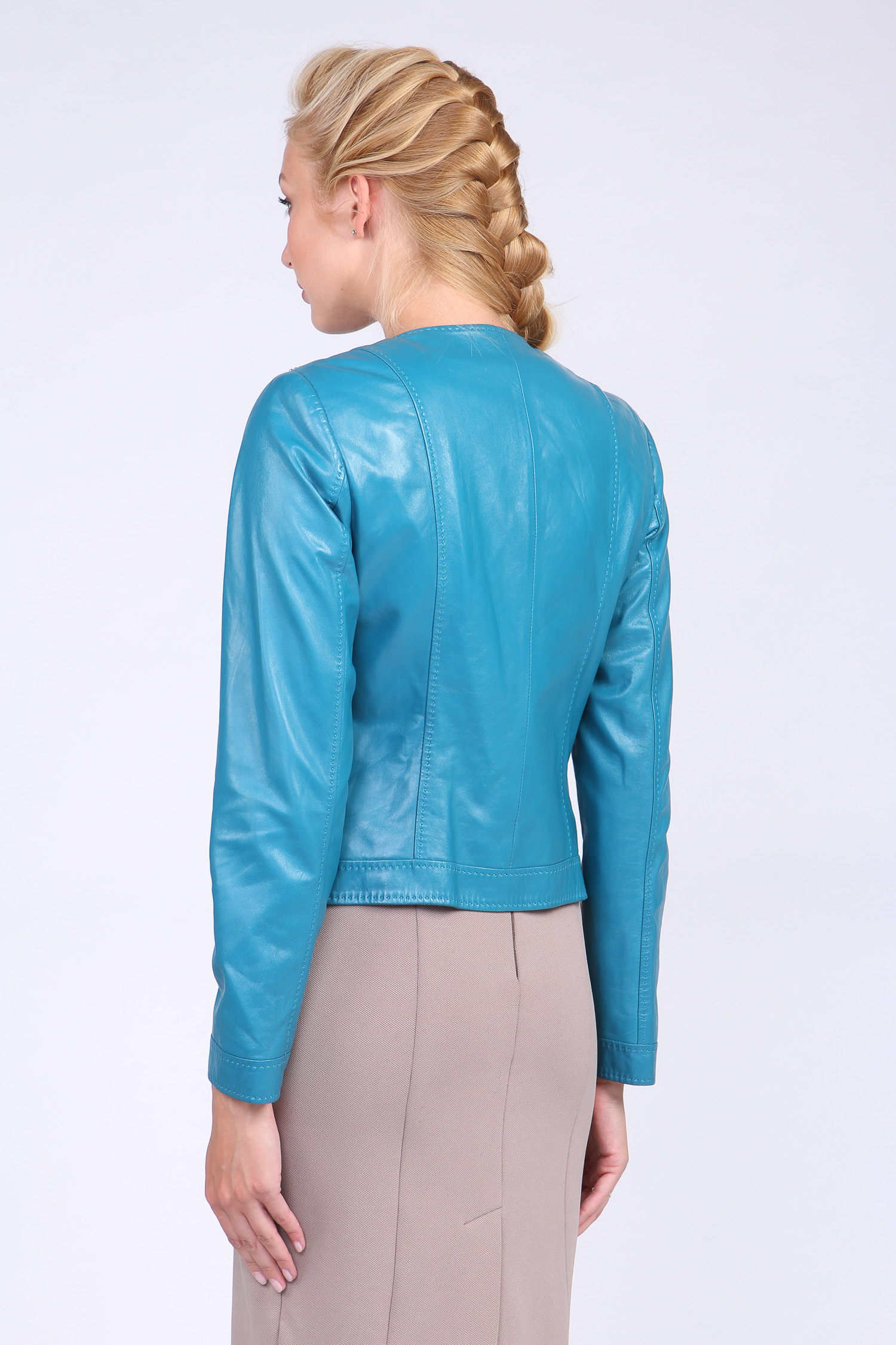 Женская кожаная куртка из натуральной кожи без воротника, без отделки от Московская Меховая Компания