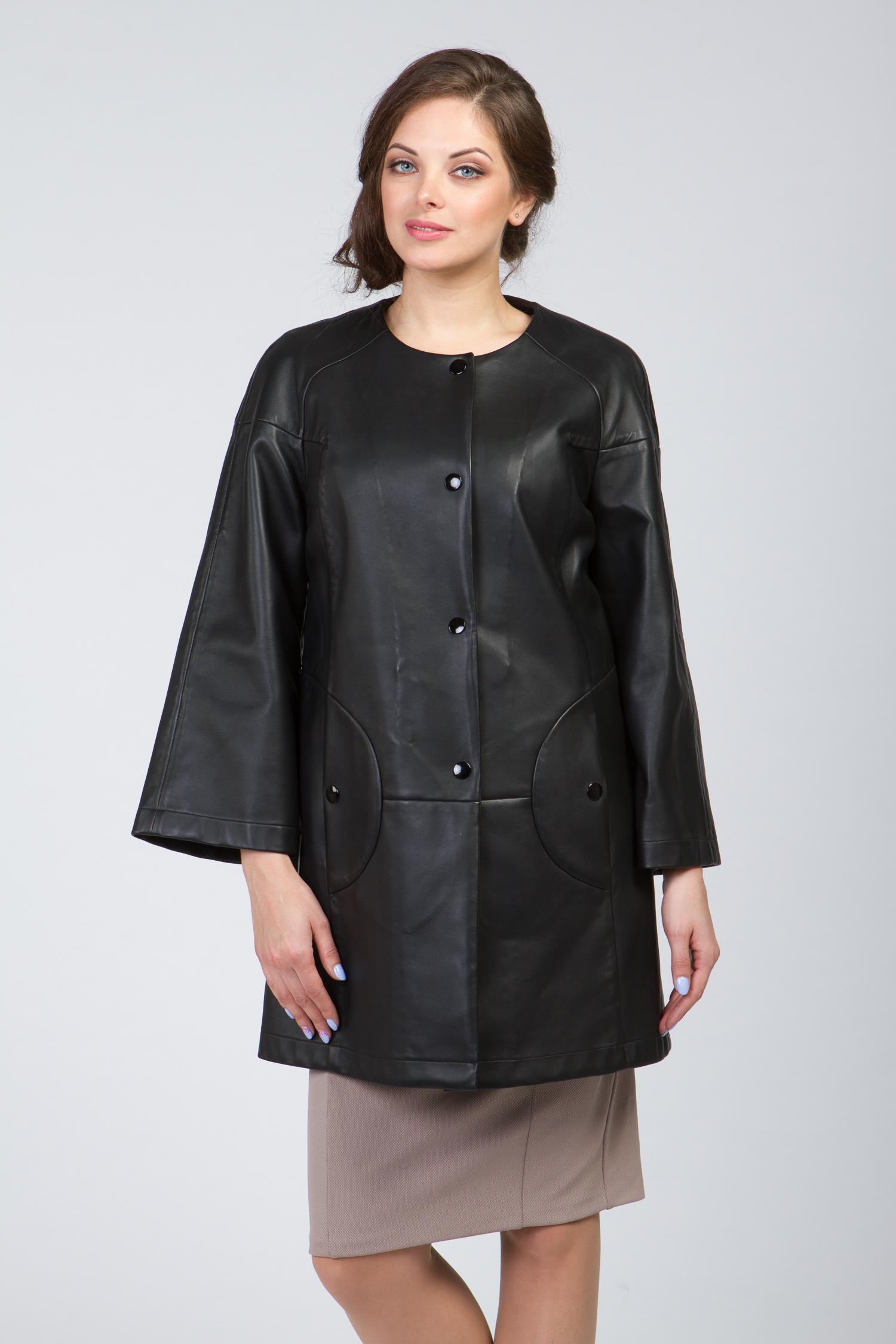 Женское кожаное пальто из натуральной кожи без воротника, без отделки Женское кожаное пальто из натуральной кожи без воротника, без отделки