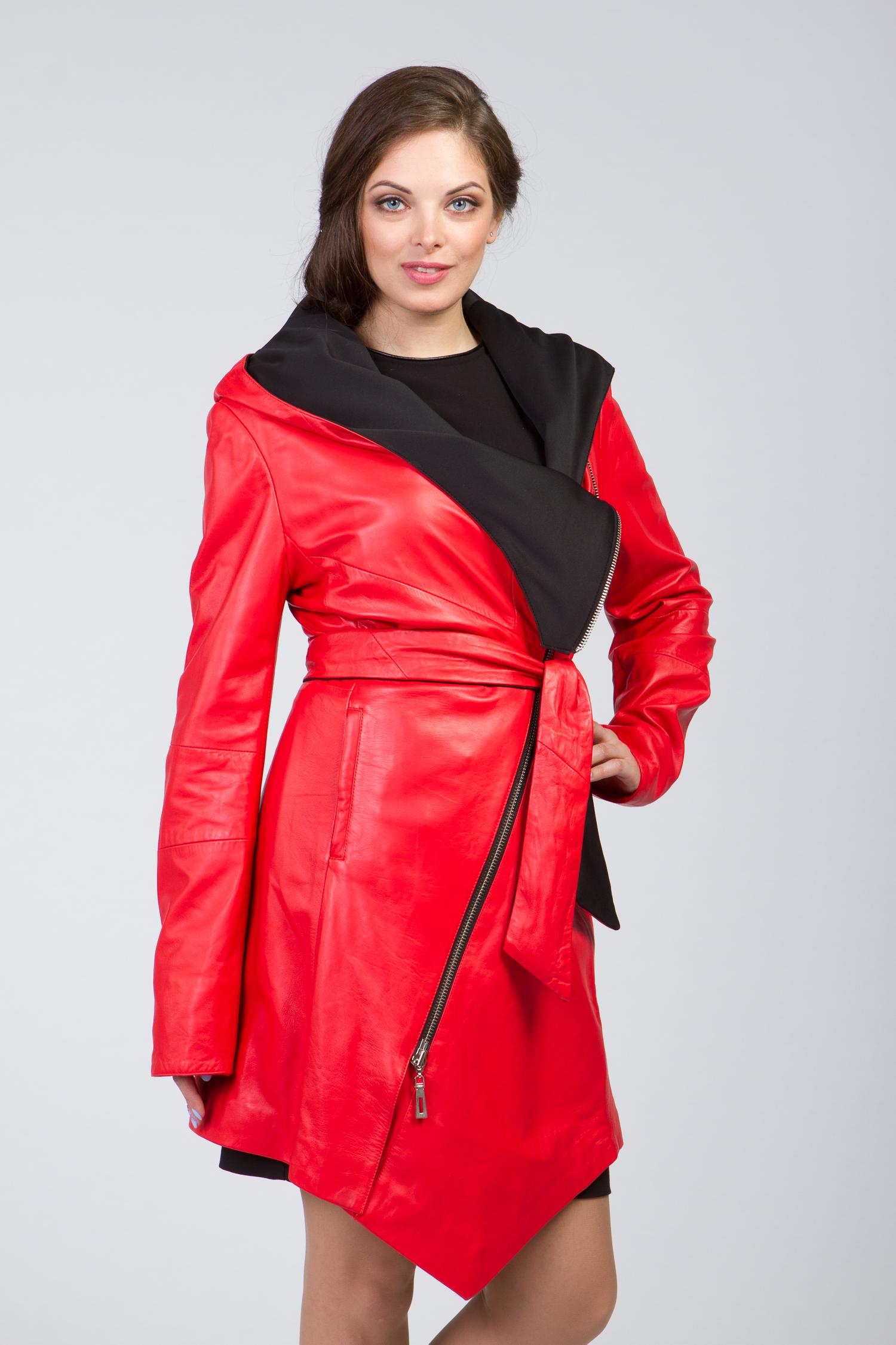 Женское кожаное пальто из натуральной кожи с капюшоном, без отделки