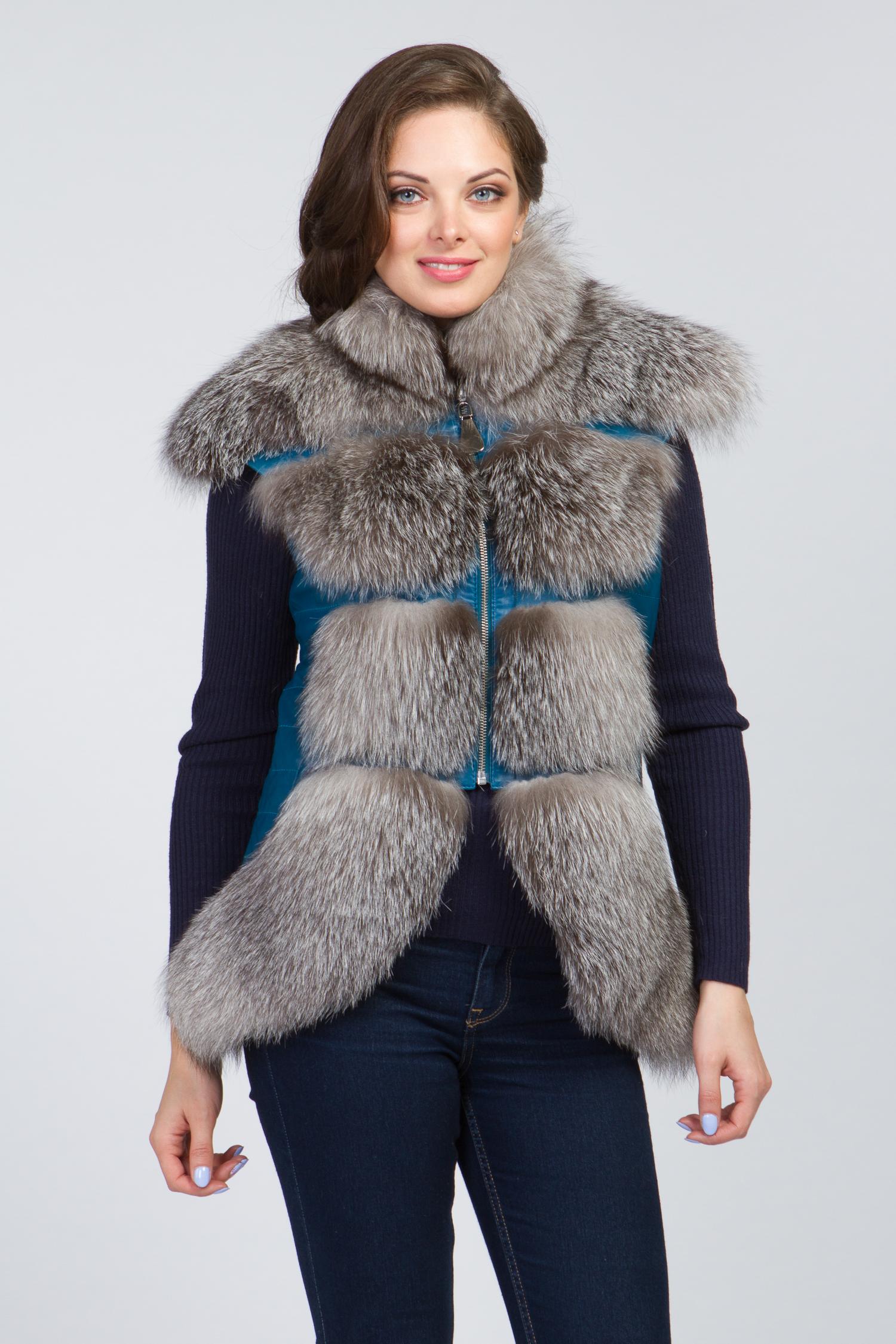 Женская кожаная куртка из натуральной кожи с воротником, отделка чернобурка