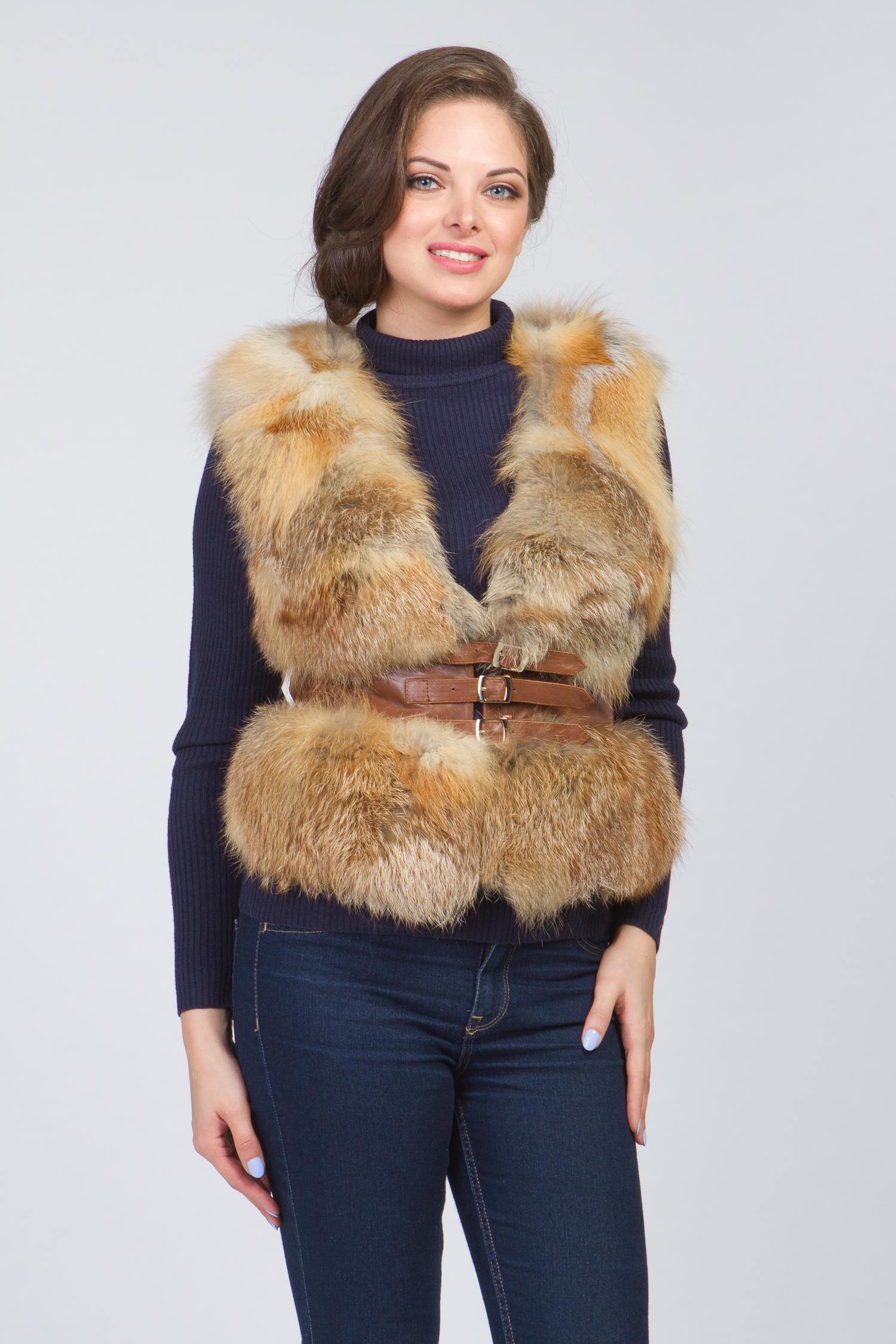 Женская кожаная куртка из натуральной кожи без воротника, отделка лиса<br><br>Воротник: без воротника<br>Длина см: Короткая (51-74 )<br>Материал: Кожа овчина<br>Цвет: коричневый<br>Вид застежки: центральная<br>Застежка: комбинированная<br>Пол: Женский<br>Размер RU: 46