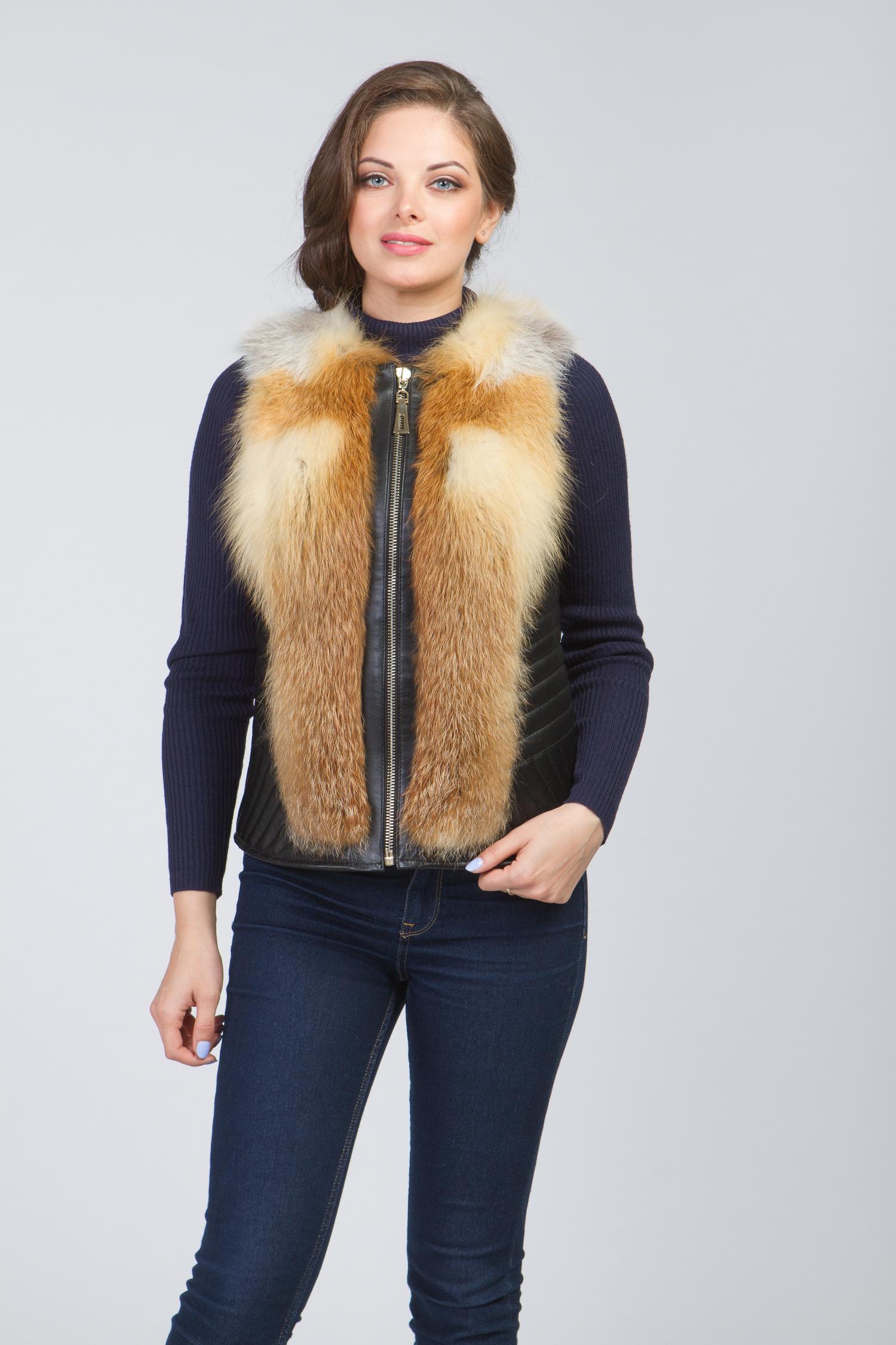 Женская кожаная куртка из натуральной кожи без воротника, отделка лиса