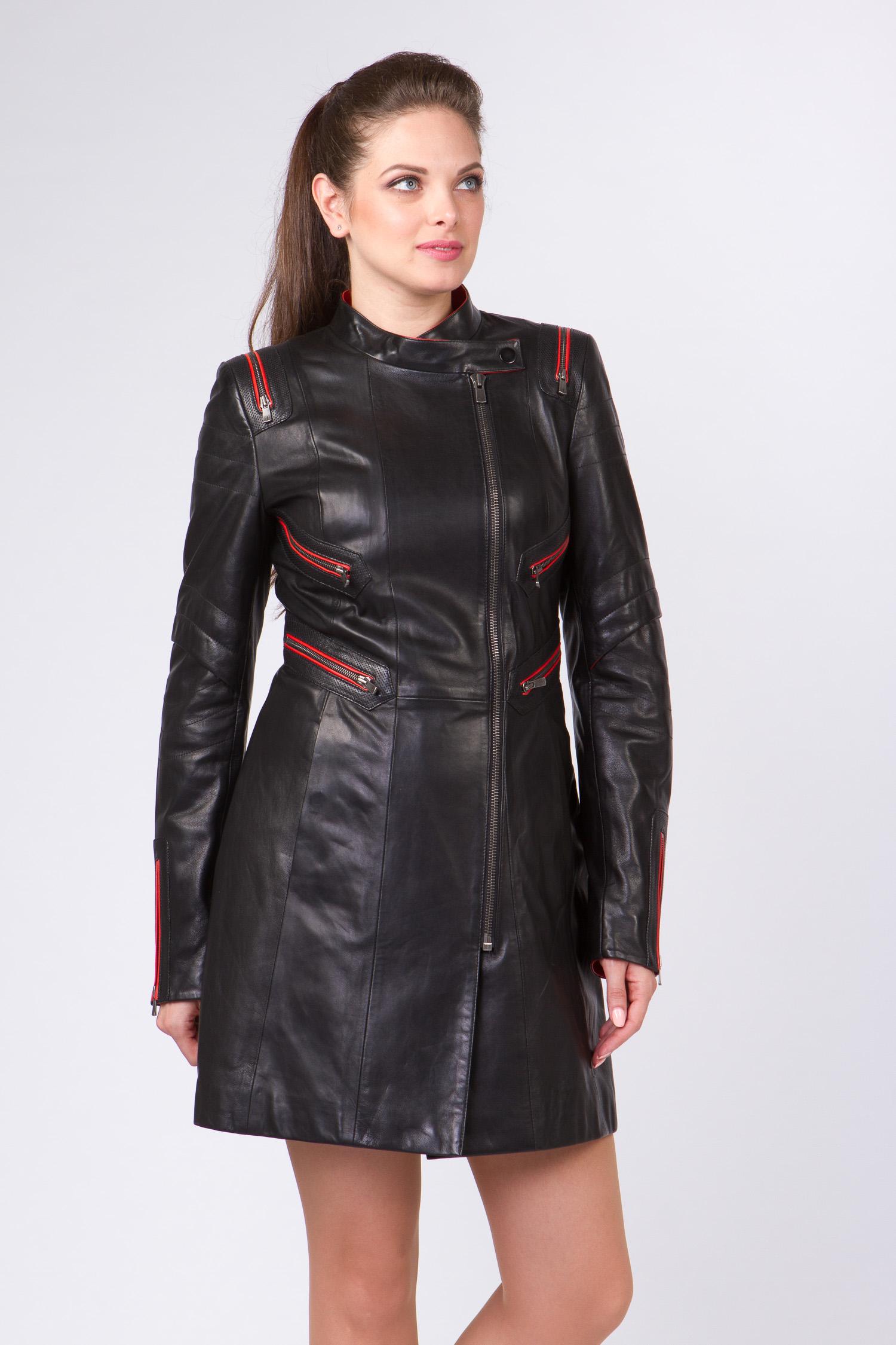 Женское кожаное пальто из натуральной кожи с воротником, без отделки Женское кожаное пальто из натуральной кожи с воротником, без отделки
