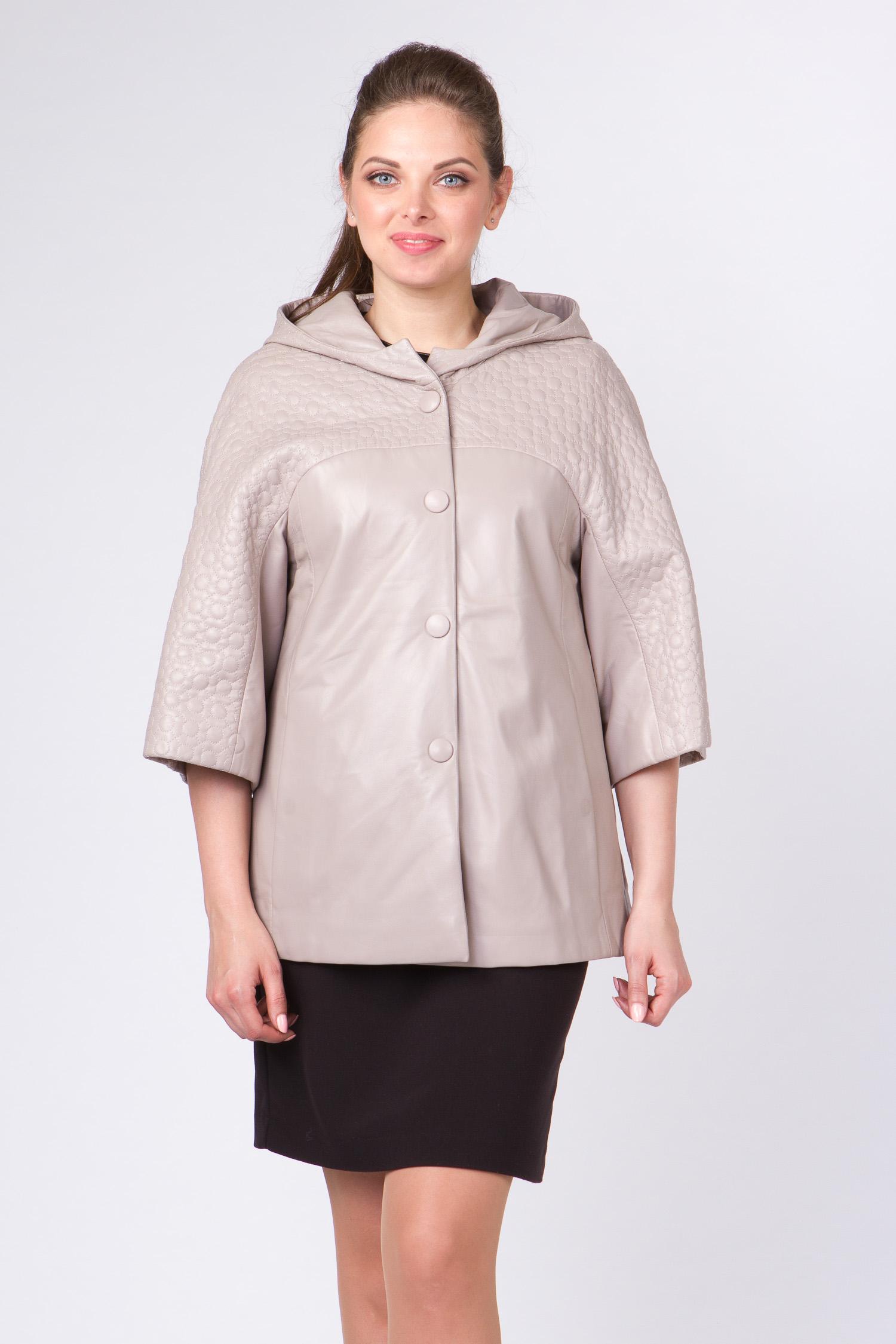 Женская кожаная куртка из натуральной кожи с капюшоном, без отделки