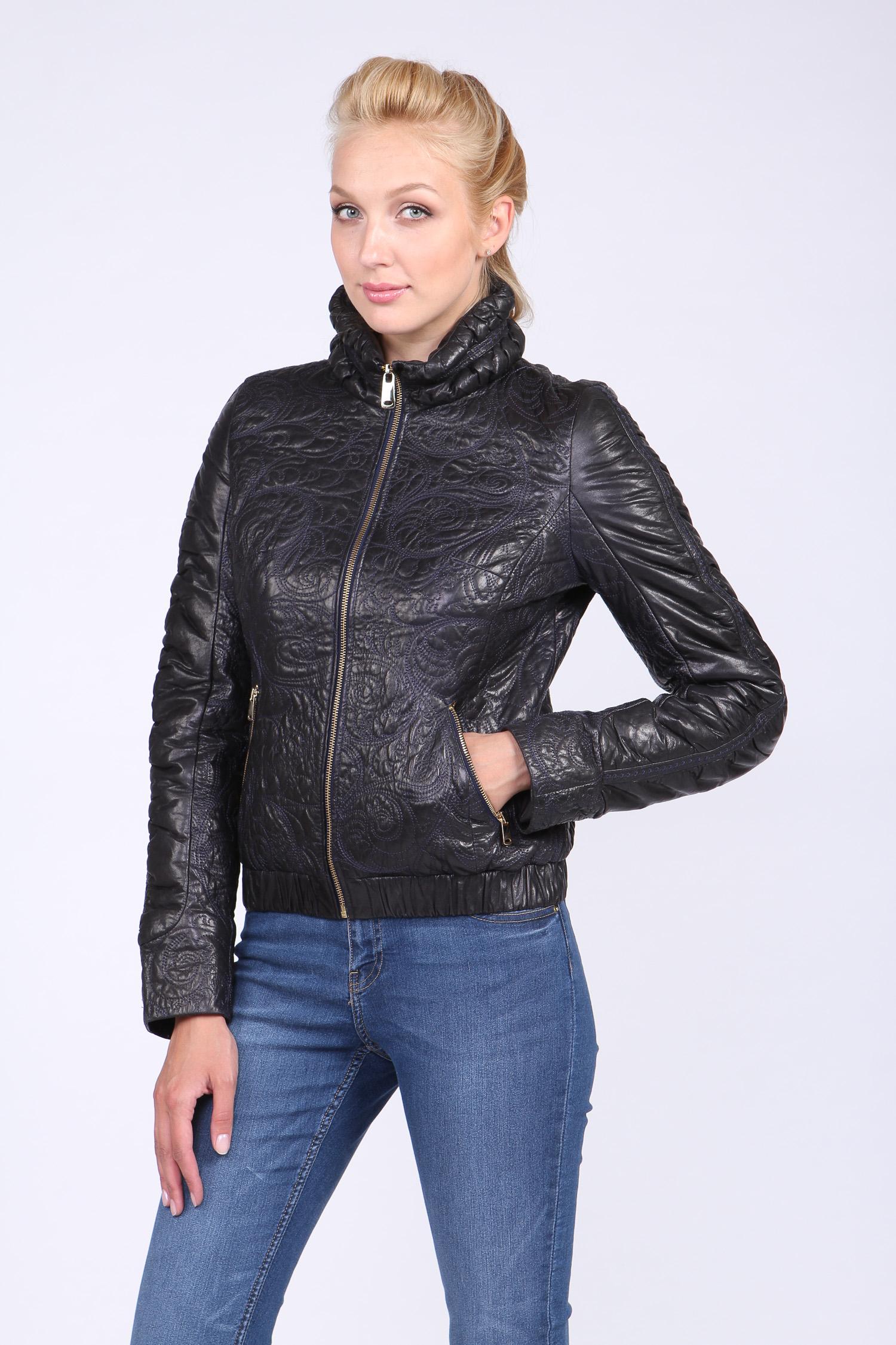 Женская кожаная куртка из натуральной кожи с воротником, без отделки Московская Меховая Компания