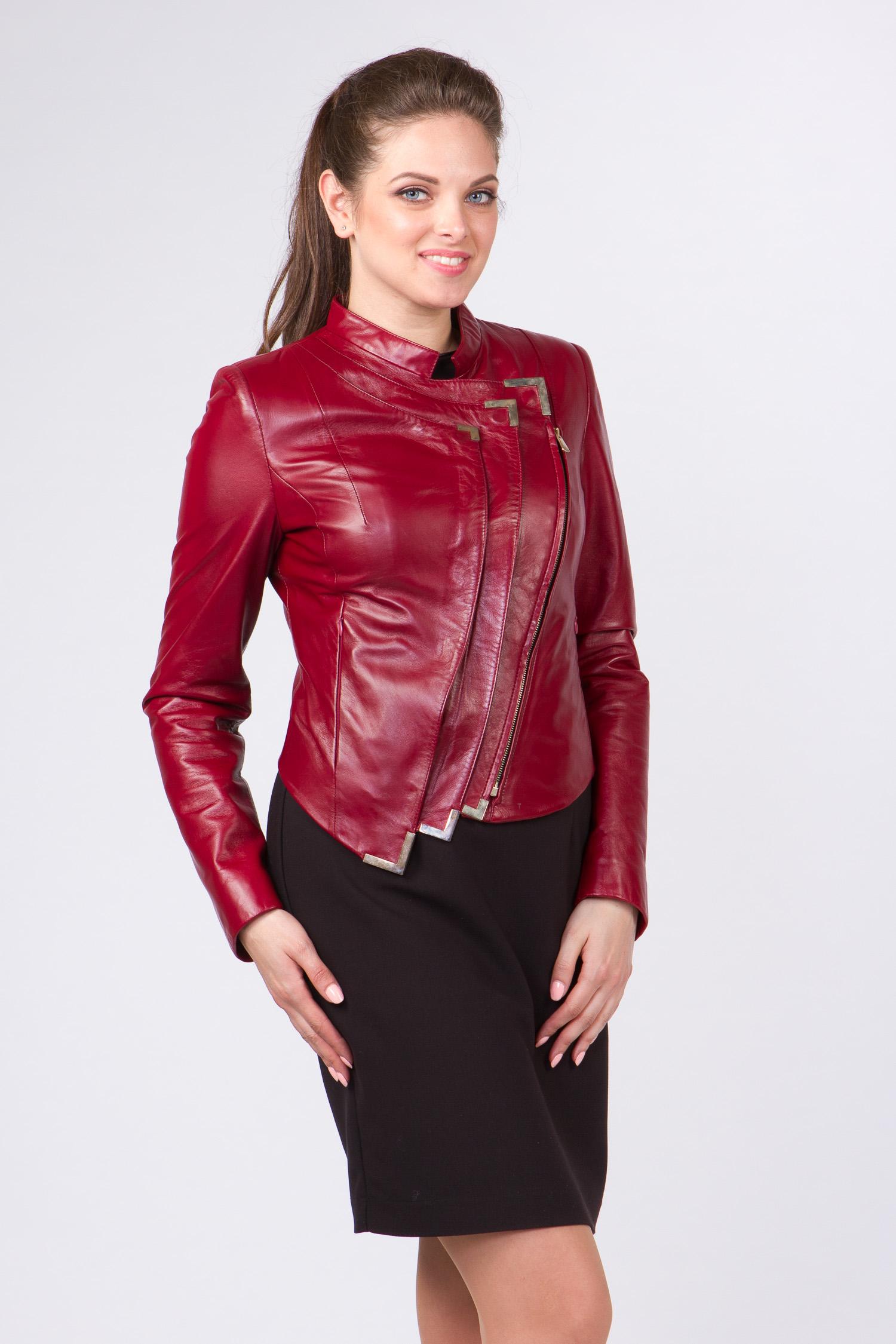 Женская кожаная куртка из натуральной кожи с воротником, без отделки Женская кожаная куртка из натуральной кожи с воротником, без отделки