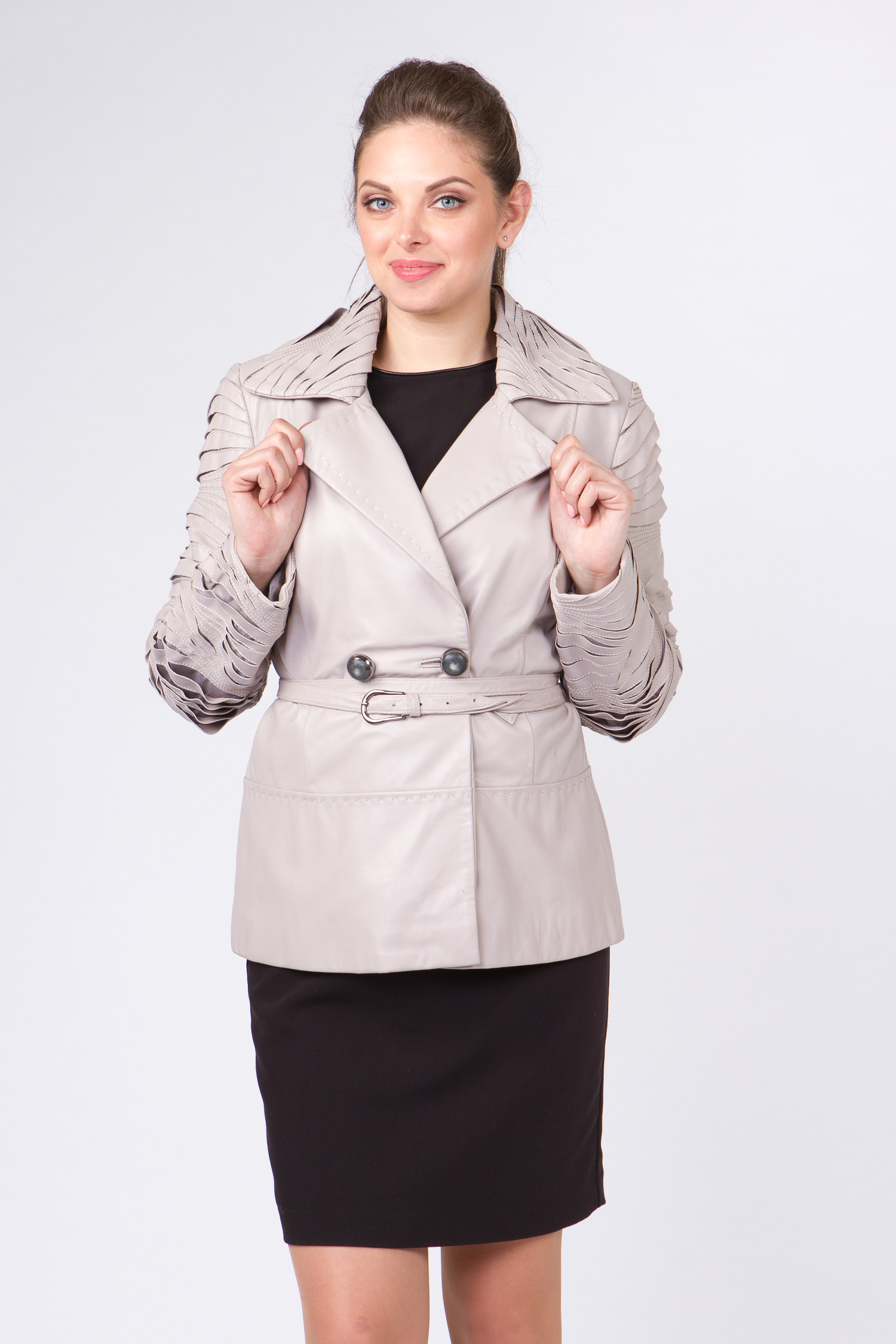 Женская кожаная куртка из натуральной кожи с воротником