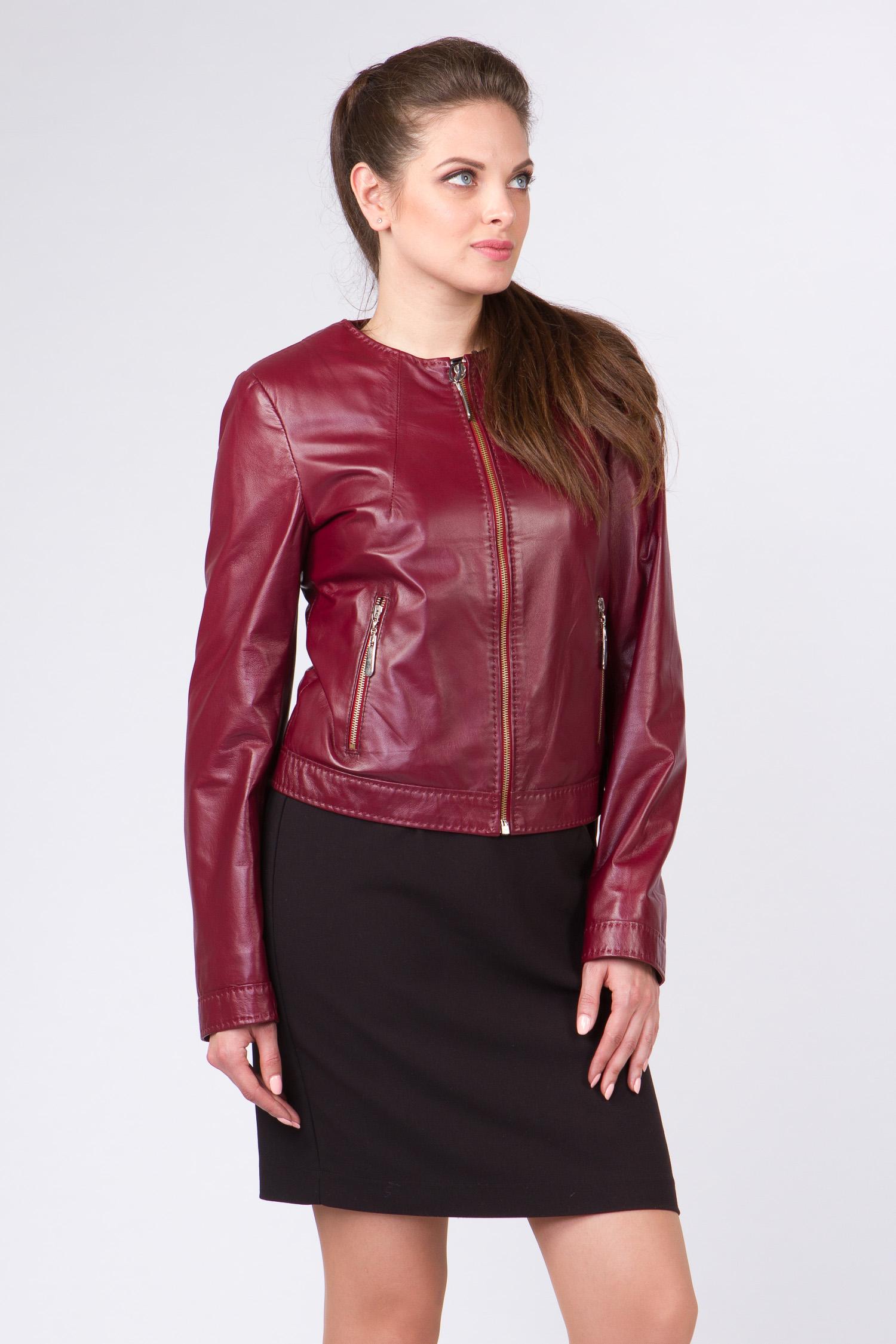 Женская кожаная куртка из натуральной кожи без воротника, без отделки Женская кожаная куртка из натуральной кожи без воротника, без отделки