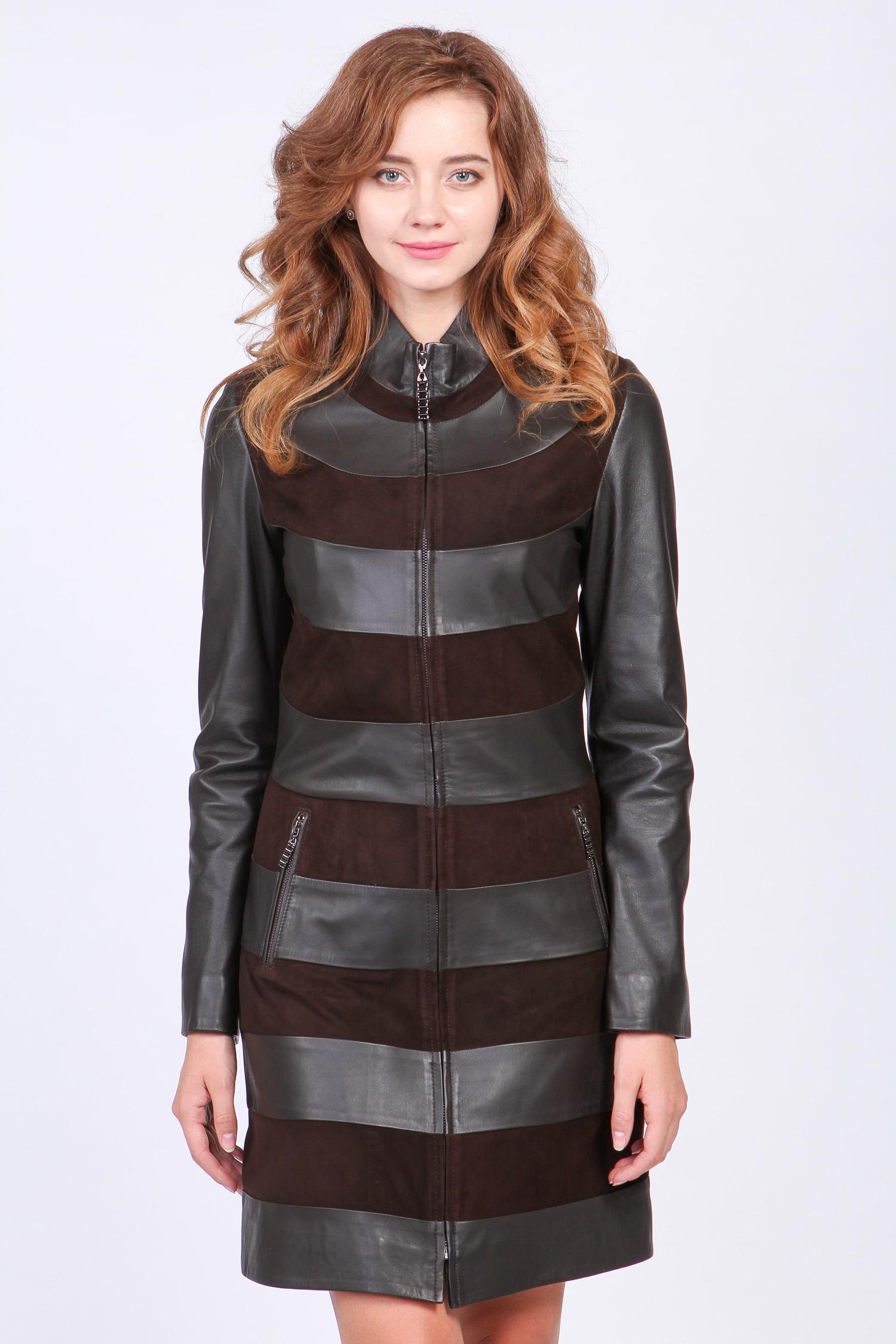 Женское кожаное пальто из натуральной кожи с воротником, без отделки