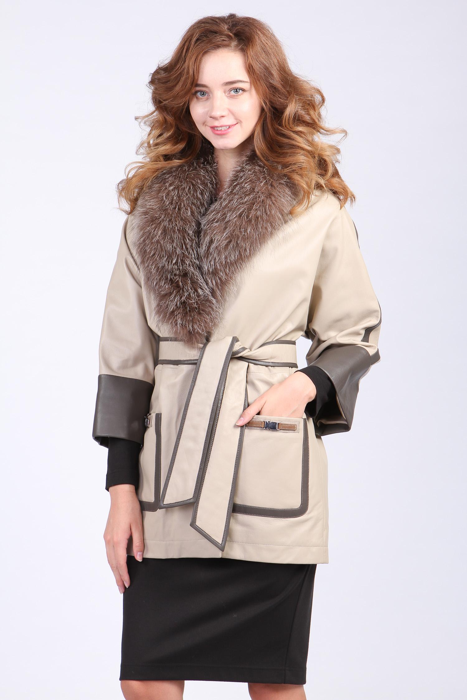 Женская кожаная куртка из натуральной кожи с воротником,отделка чернобурка