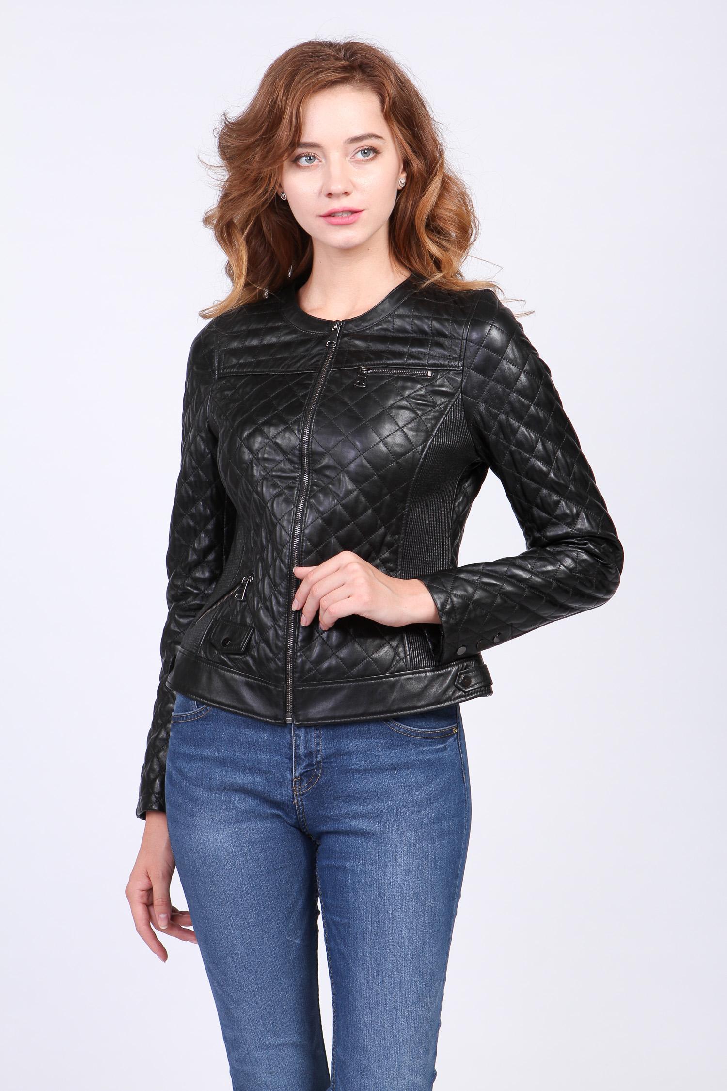Женская кожаная куртка из натуральной кожи без воротника, без отделки Московская Меховая Компания