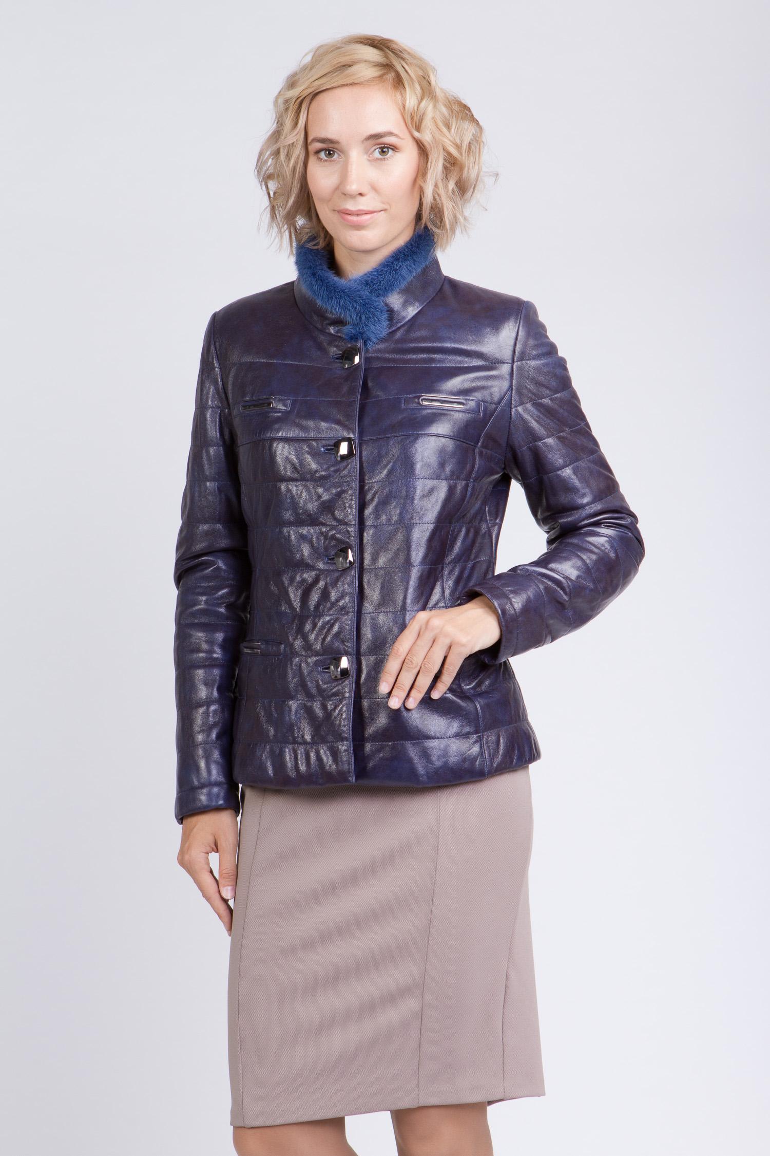 Женская кожаная куртка из натуральной кожи с воротником, отделка норка