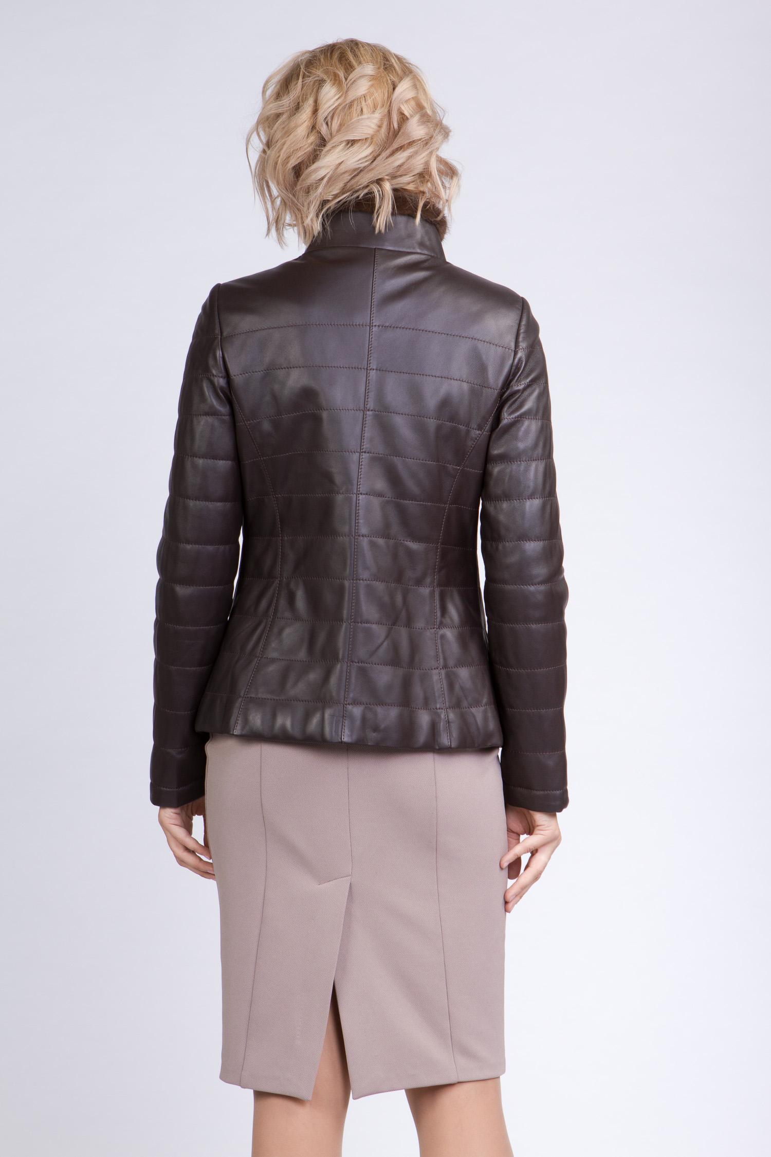 Женская кожаная куртка из натуральной кожи с воротником, отделка норка от Московская Меховая Компания