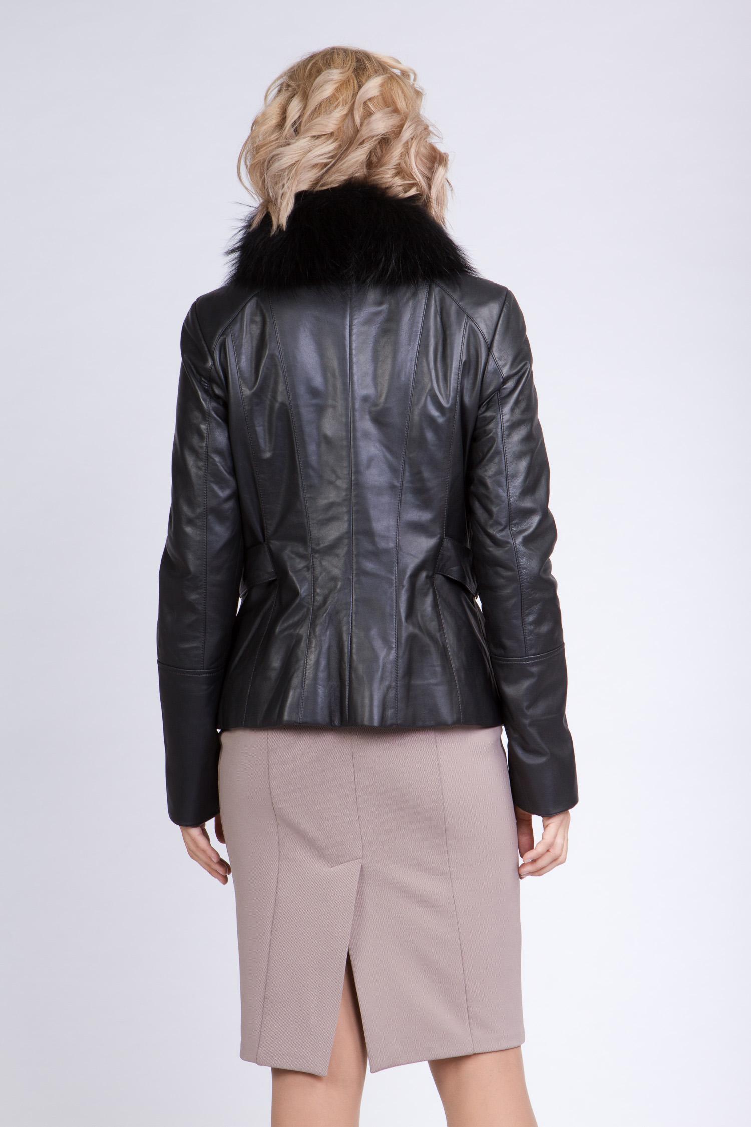 Женская кожаная куртка из натуральной кожи с воротником, отделка енот от Московская Меховая Компания
