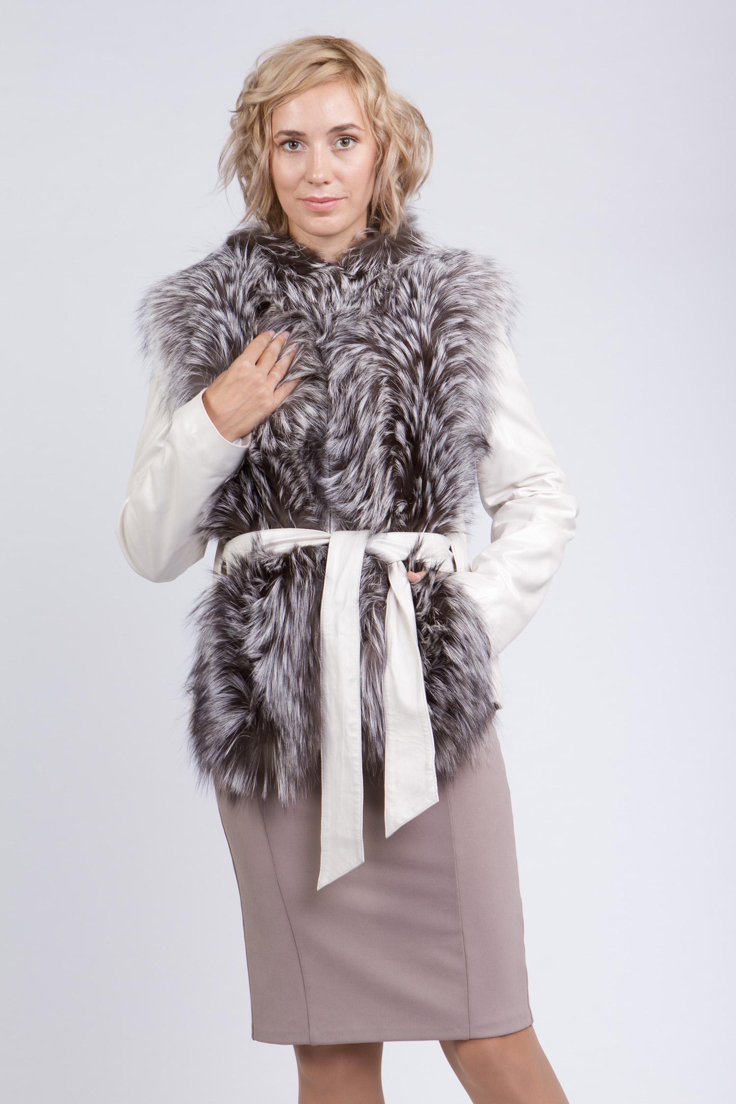 Купить со скидкой Женская кожаная куртка из натуральной кожи без воротника, отделка чернобурка