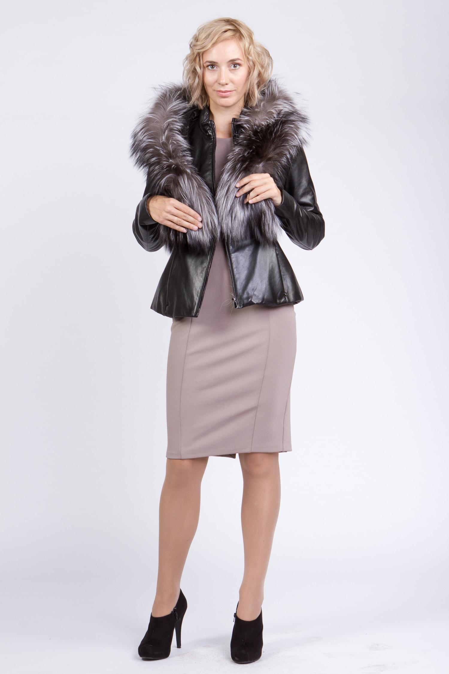 Женская кожаная куртка из натуральной кожи с капюшоном, отделка чернобурка от Московская Меховая Компания