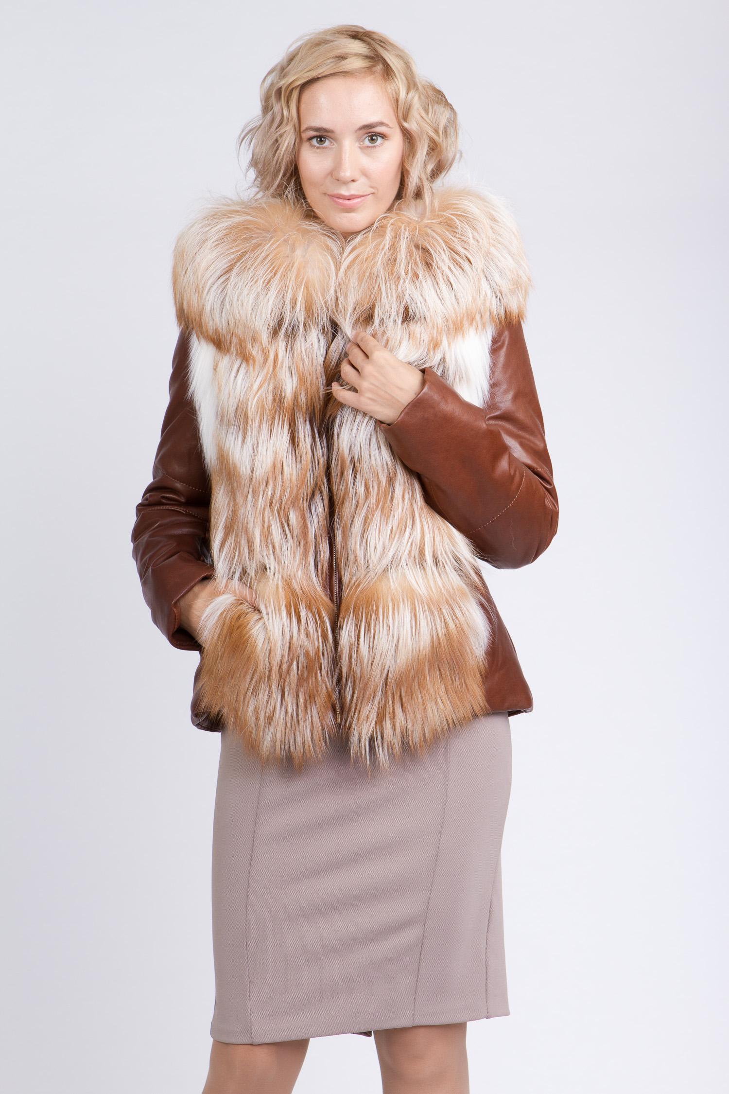 Купить со скидкой Женская кожаная куртка из натуральной кожи с капюшоном, отделка лиса