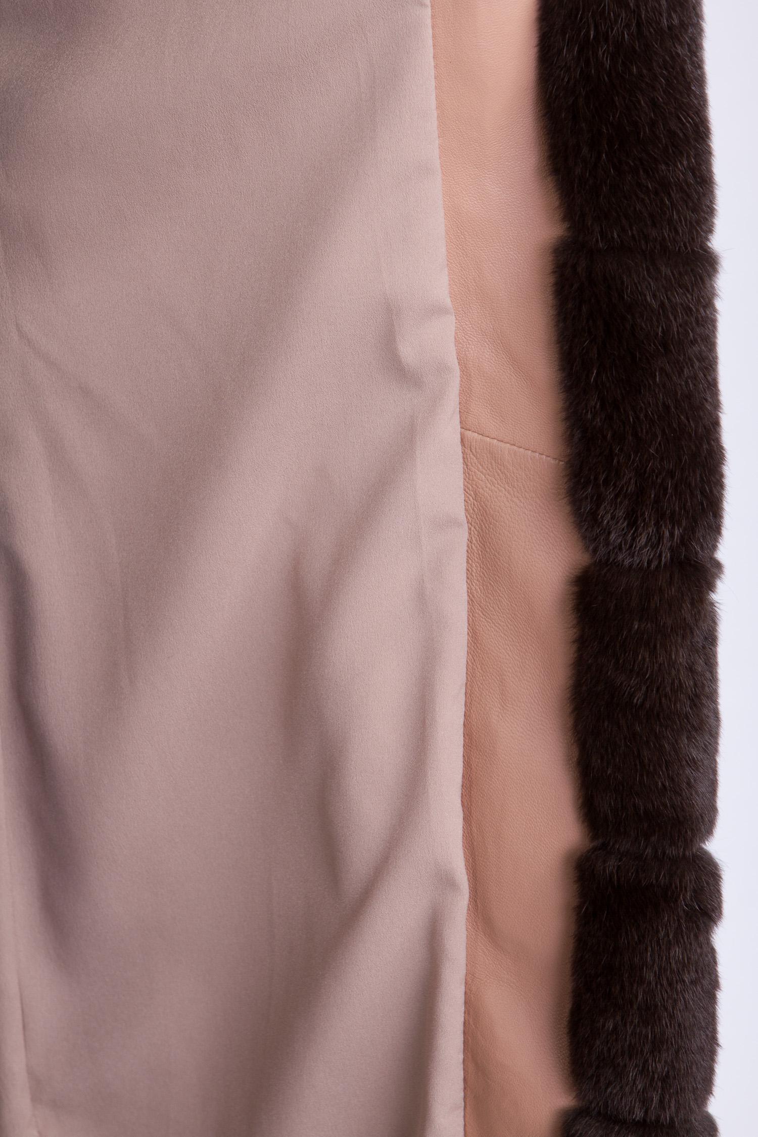 Женское кожаное полупальто из натуральной кожи с воротником, отделка кролик от Московская Меховая Компания