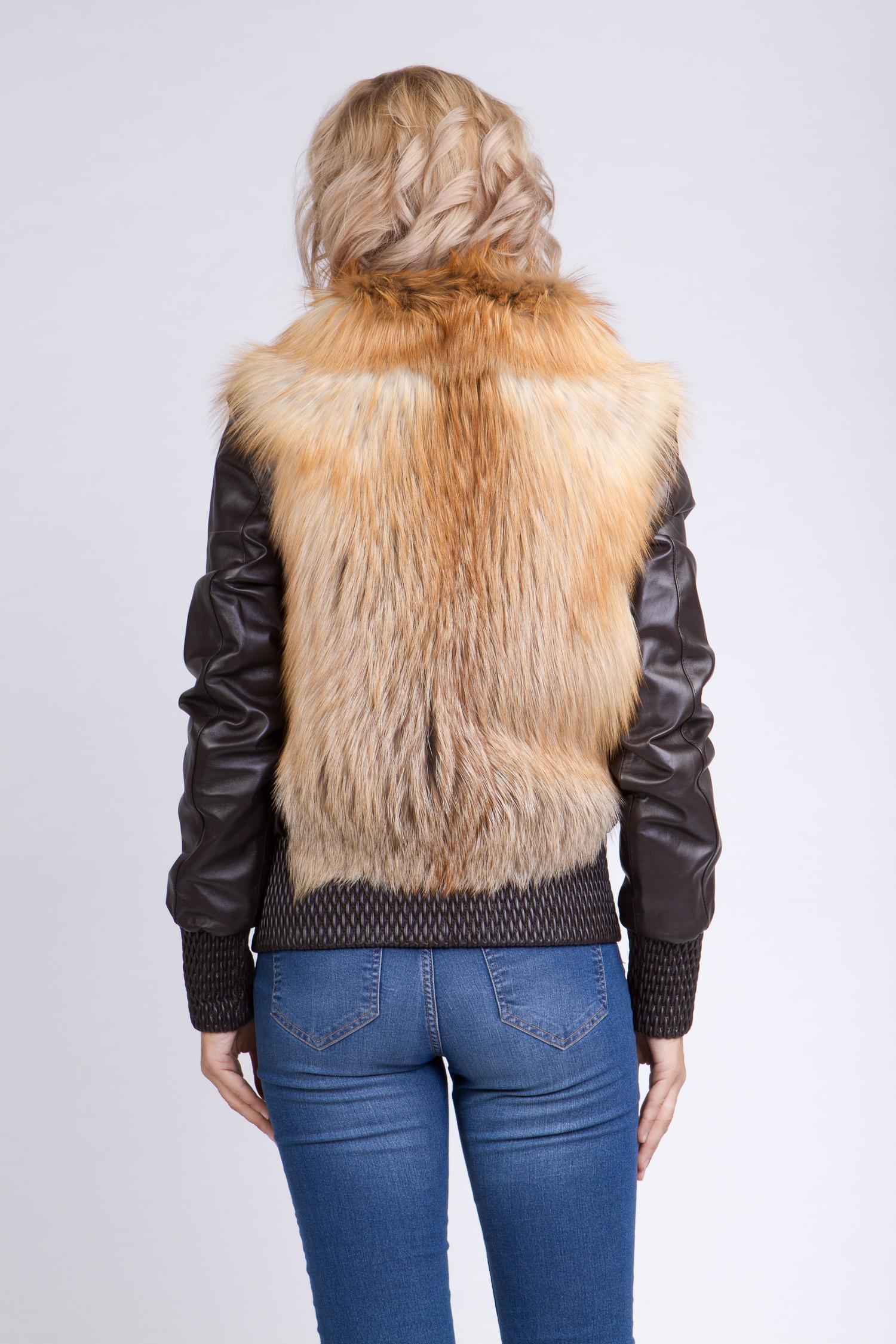 Женская кожаная куртка из натуральной кожи без воротника, отделка лиса от Московская Меховая Компания