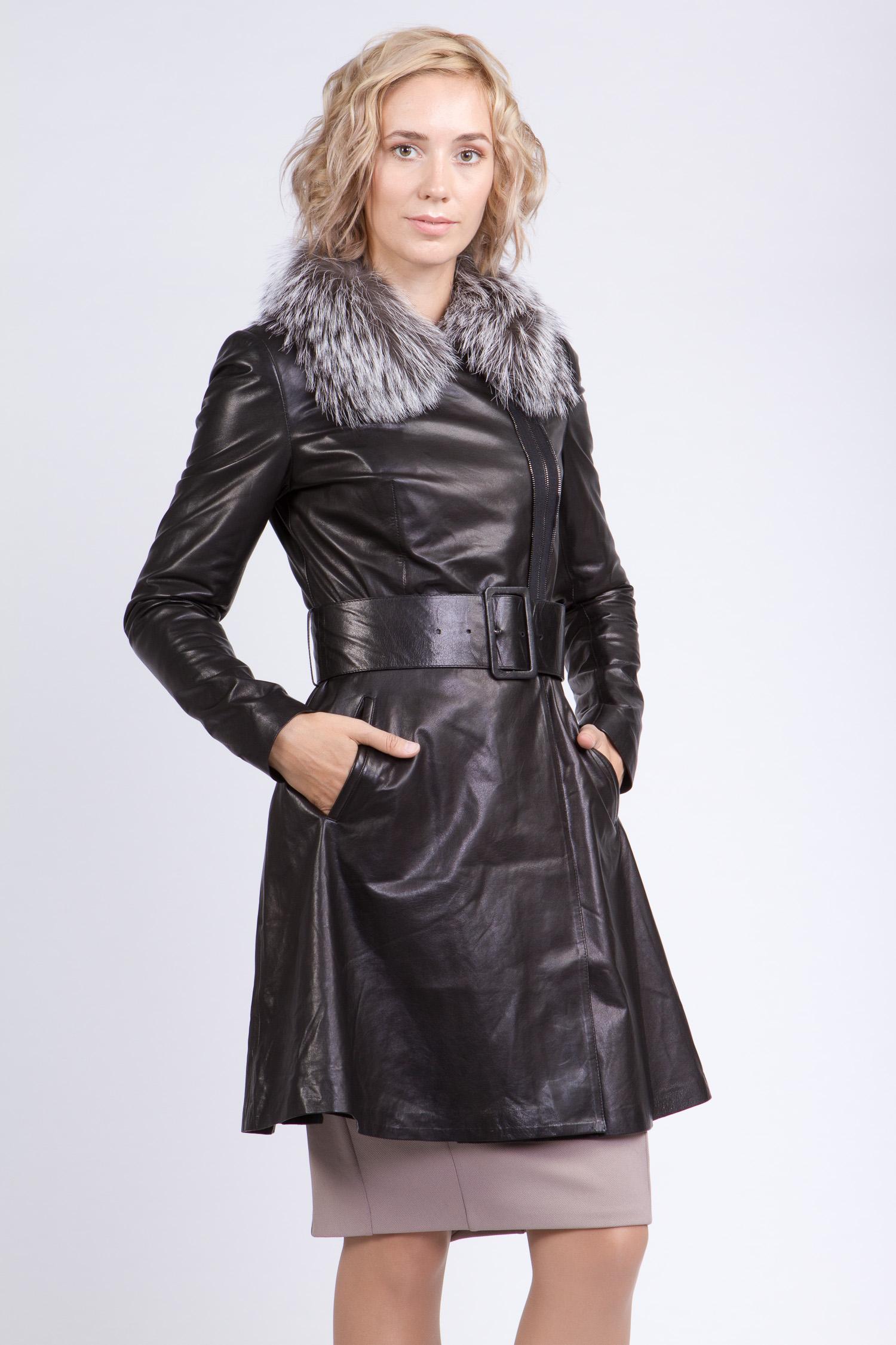 Женское кожаное пальто из натуральной кожи с воротником, отделка чернобурка