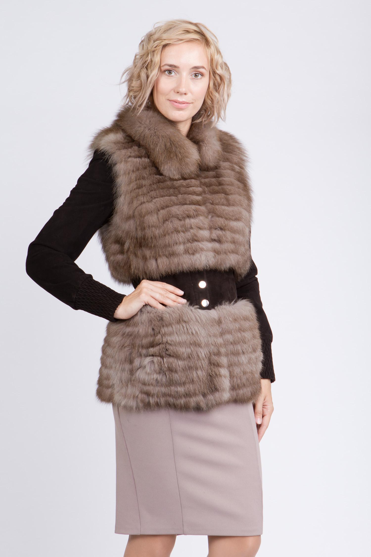 Женская кожаная куртка из натуральной кожи с воротником, отделка песец