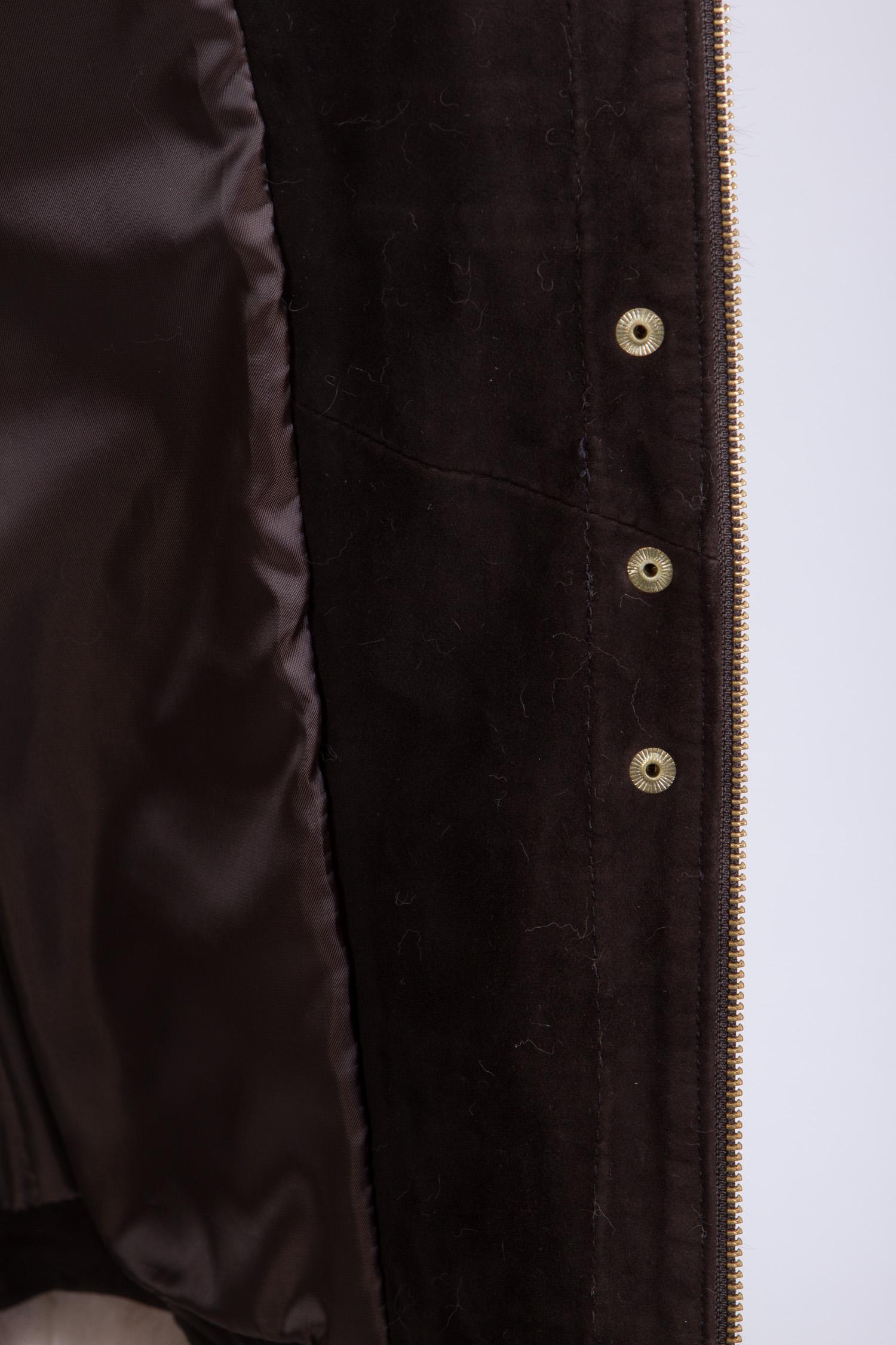 Женская кожаная куртка из натуральной кожи с воротником, отделка песец от Московская Меховая Компания