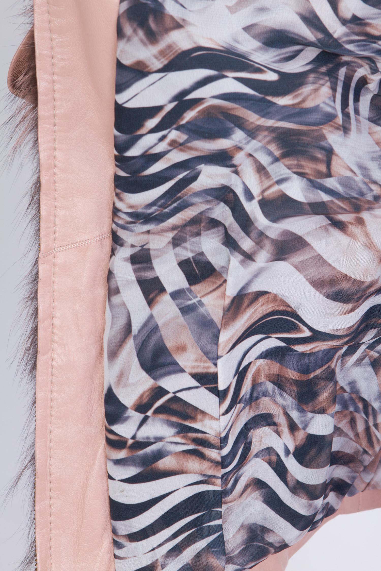 Женская кожаная куртка из натуральной кожи без воротника, отделка енот от Московская Меховая Компания