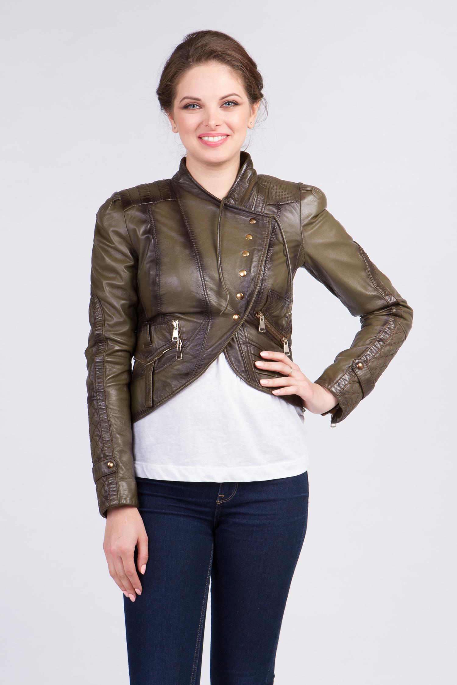 Женская кожаная куртка из натуральной кожи с воротником, без отделки<br><br>Воротник: стойка<br>Длина см: Короткая (51-74 )<br>Материал: Кожа овчина<br>Цвет: зеленый<br>Вид застежки: косая<br>Застежка: на кнопки<br>Пол: Женский<br>Размер RU: 42