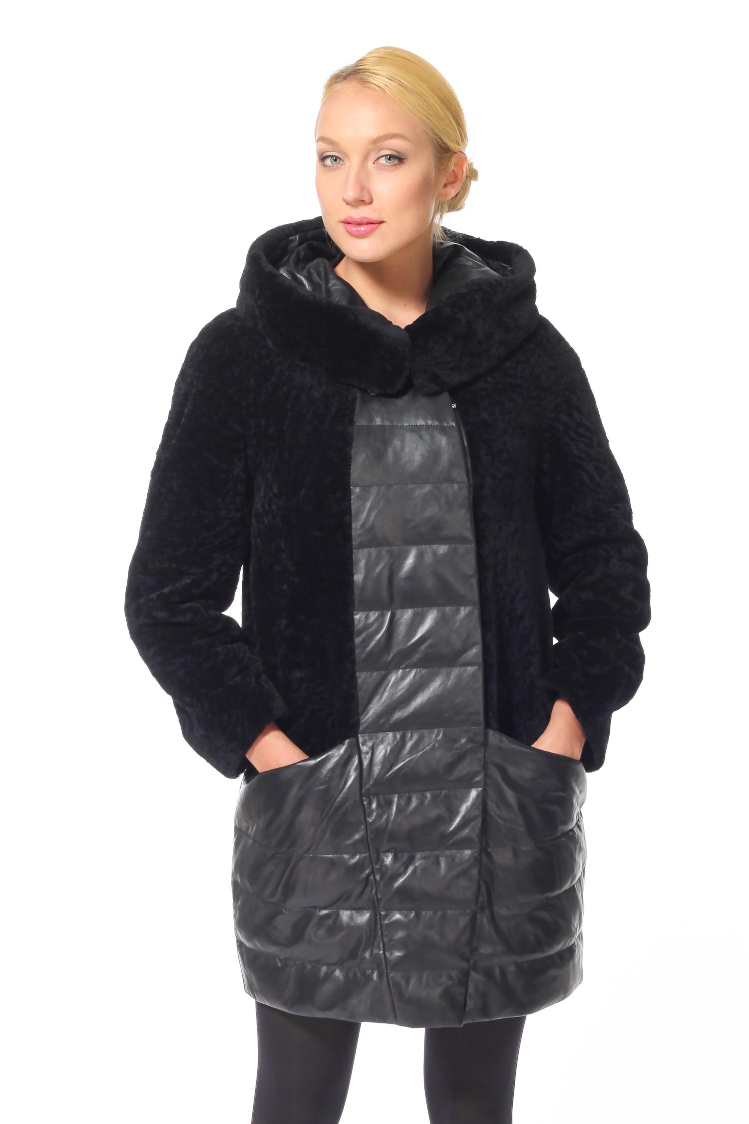 Женское кожаное пальто из натуральной кожи  с капюшоном, отделка астраган<br><br>Длина см: 90<br>Отделка: Кожа<br>Цвет: Черный<br>Материал: Астраган<br>Капюшон: Есть<br>Пол: Женский<br>Размер RU: 52