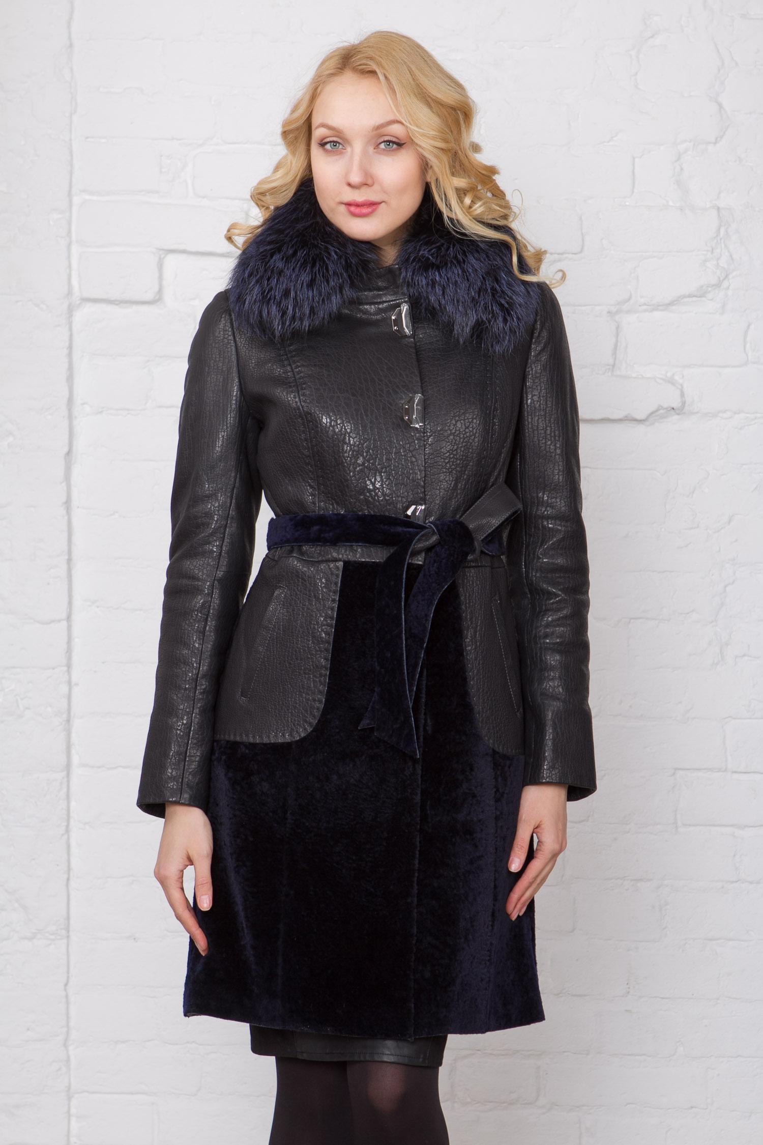 Женское кожаное пальто из натуральной кожи с воротником, отделка чернобурка Женское кожаное пальто из натуральной кожи с воротником, отделка чернобурка