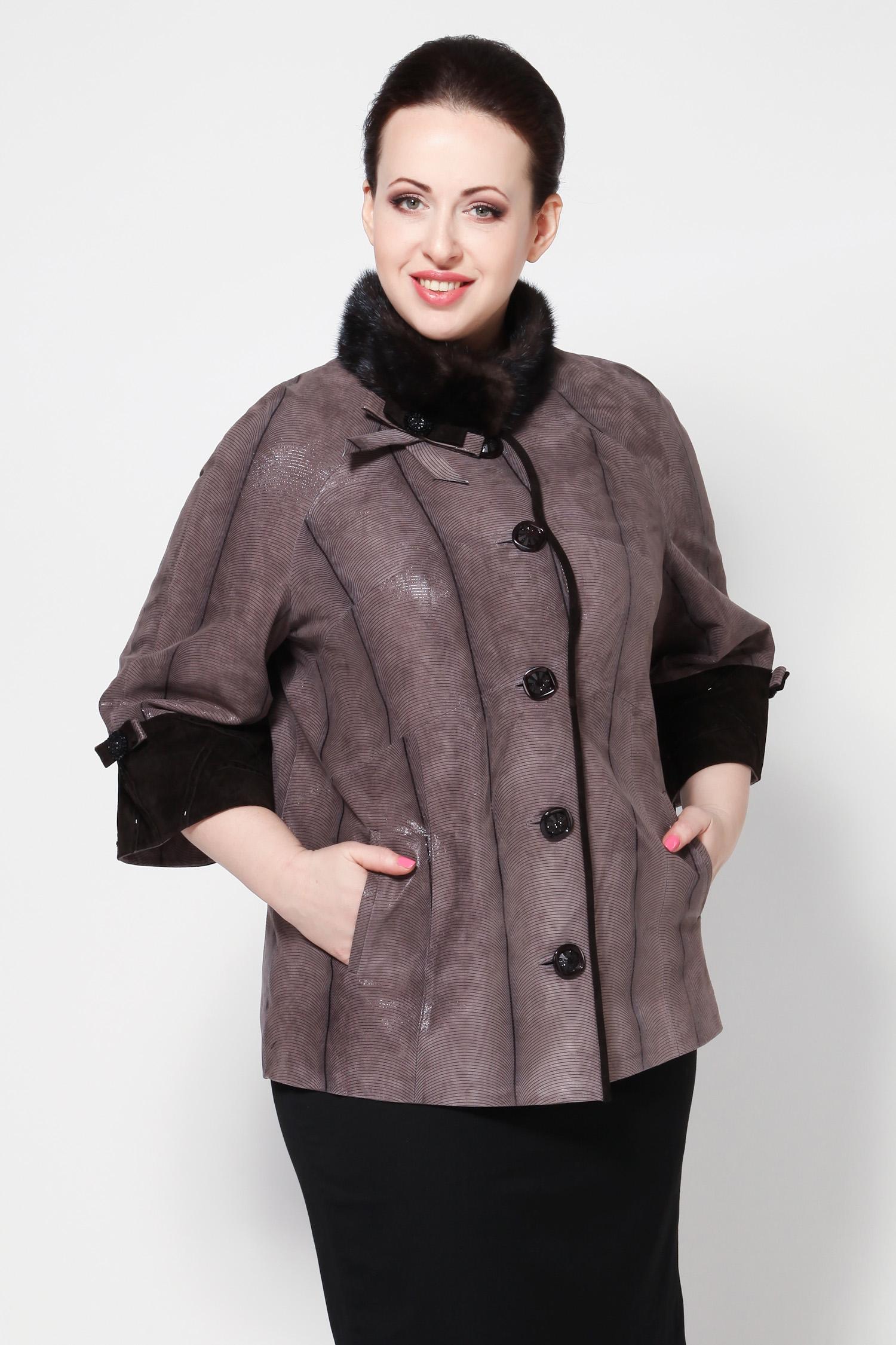 Женская кожаная куртка из натуральной замши с воротником, отделка норка<br><br>Воротник: Стойка<br>Длина см: 70<br>Материал: Замша с накатом<br>Цвет: Светло-коричневый<br>Вид застежки: Норка<br>Пол: Женский