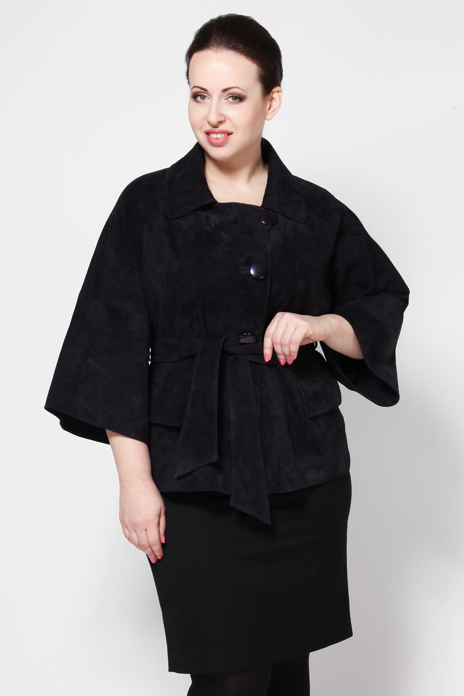 Женская кожаная куртка из натуральной замши с воротником, без отделки<br><br>Воротник: Английский<br>Длина см: 70<br>Материал: Замша<br>Цвет: Синий