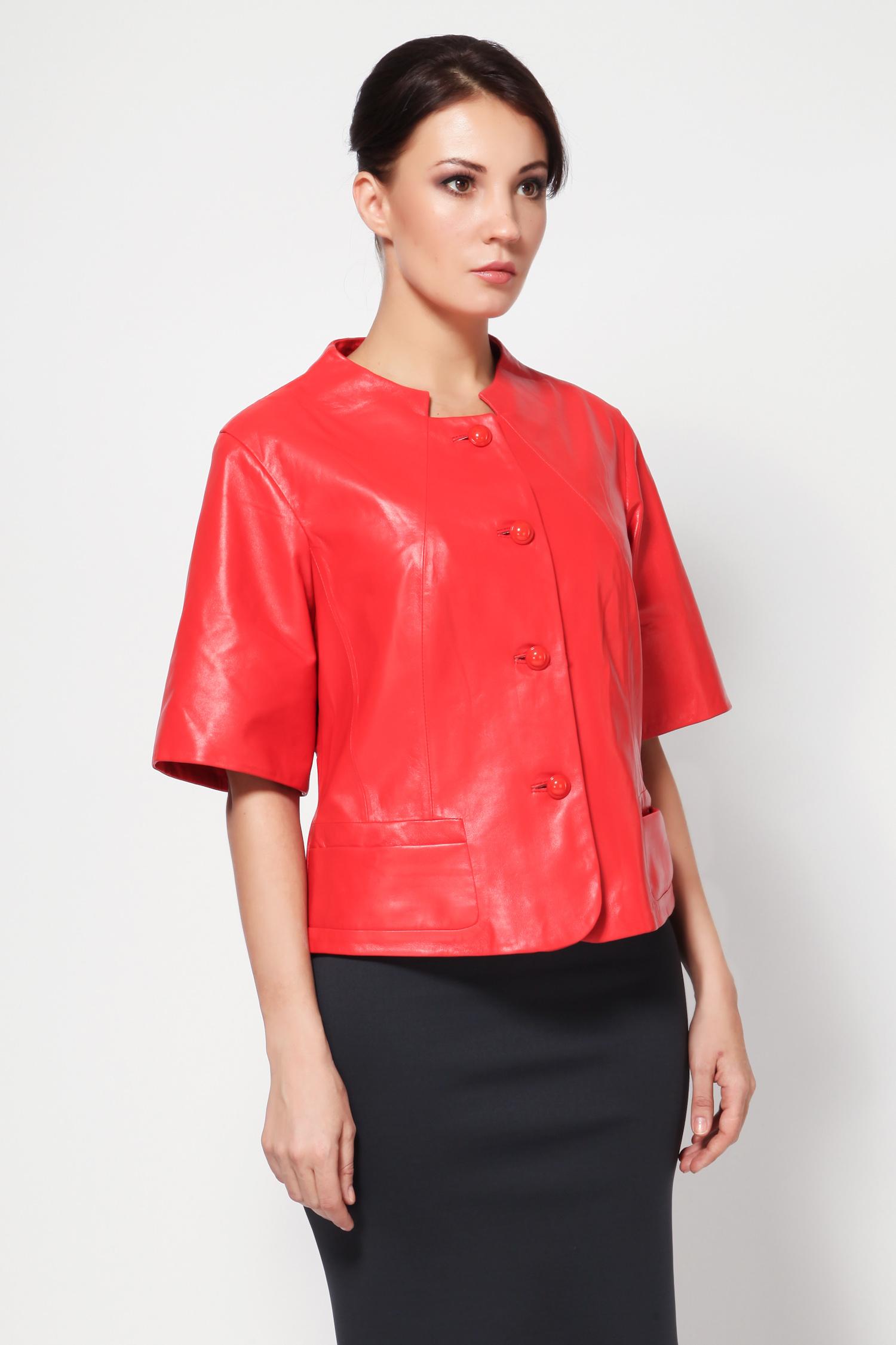 Женская кожаная куртка из натуральной кожи, без отделки<br><br>Длина см: Короткая (51-74 )<br>Материал: Кожа овчина<br>Цвет: красный<br>Застежка: на пуговицы<br>Пол: Женский<br>Размер RU: 50