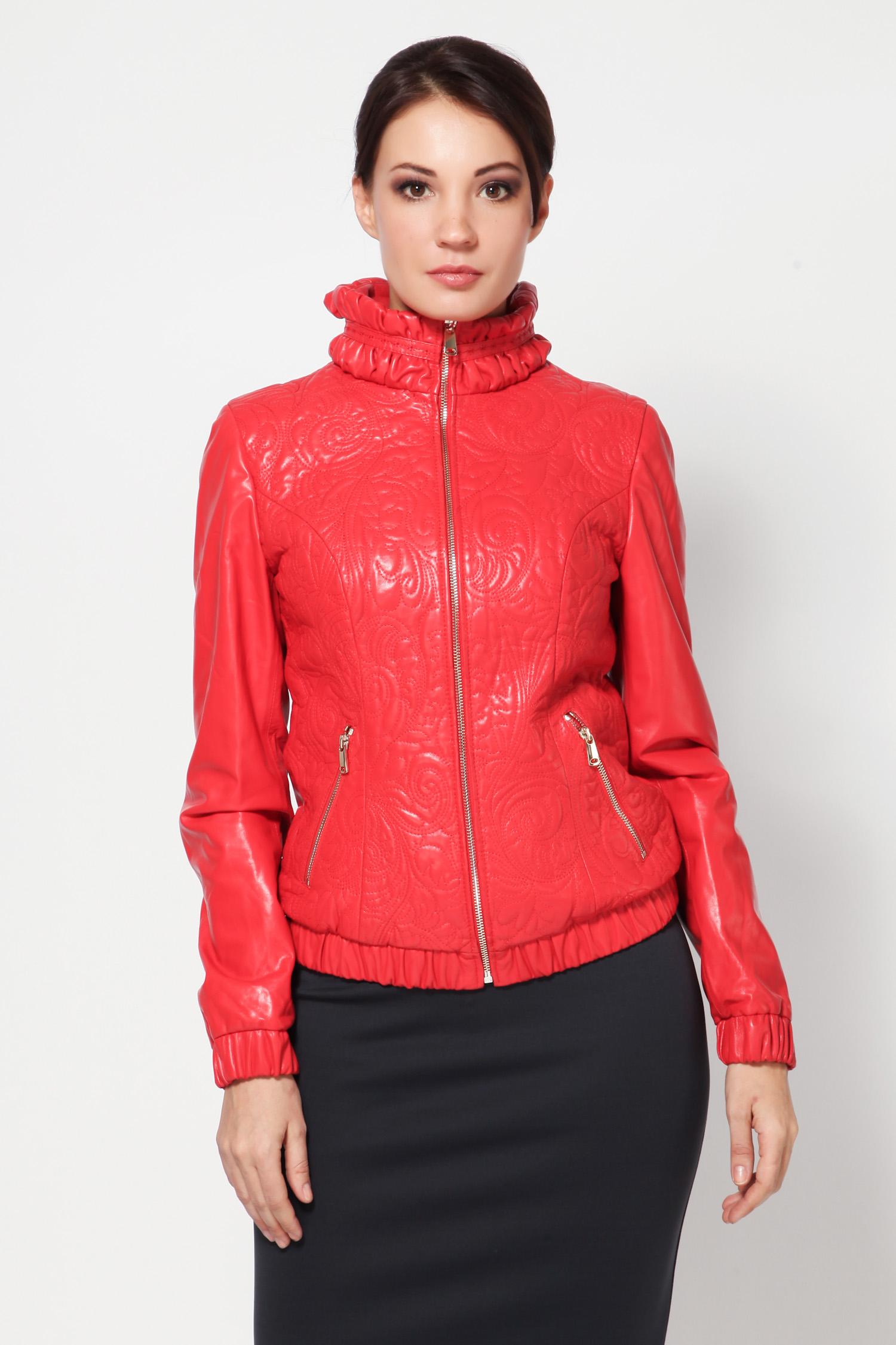 Женская кожаная куртка из натуральной кожи с воротником, без отделки<br><br>Воротник: стойка<br>Длина см: Короткая (51-74 )<br>Материал: Кожа овчина<br>Цвет: кораловый<br>Застежка: на молнии<br>Пол: Женский<br>Размер RU: 50