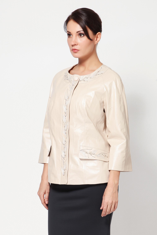 Женская кожаная куртка из натуральной кожи, без отделки<br><br>Длина см: Короткая (51-74 )<br>Материал: Кожа овчина<br>Цвет: бежевый<br>Застежка: на молнии<br>Пол: Женский<br>Размер RU: 46