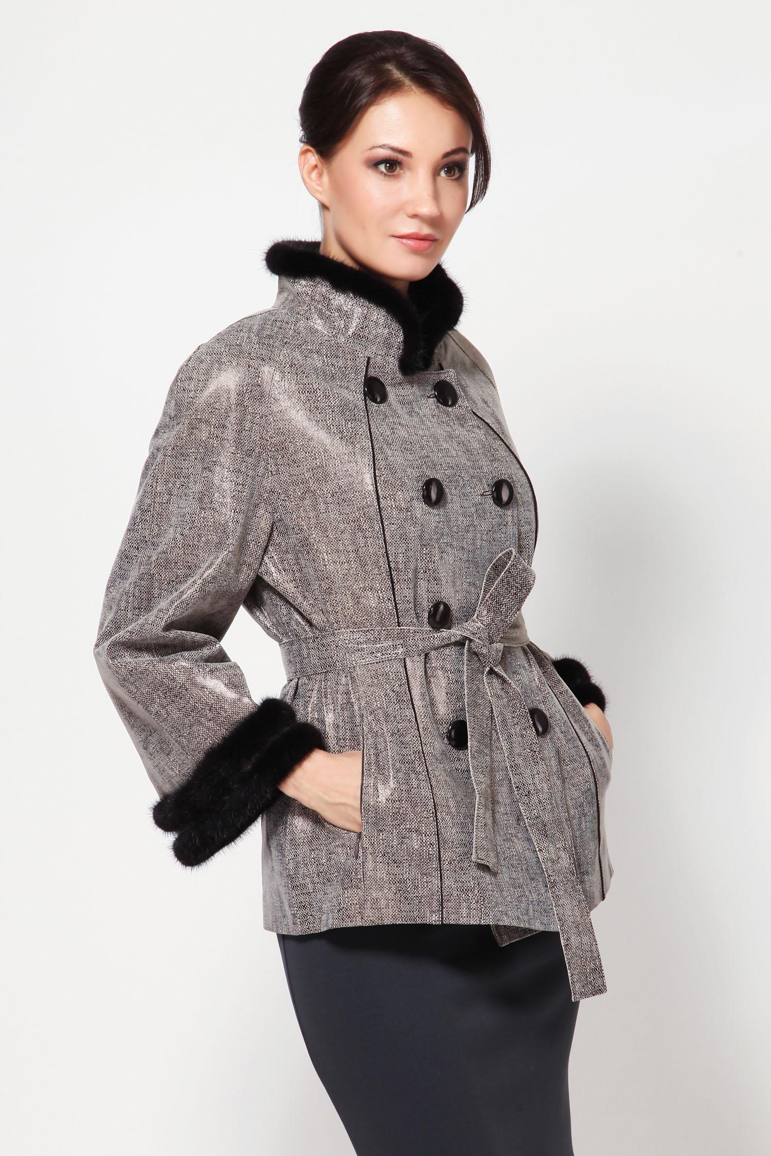 Женская кожаная куртка из натуральной замши (с накатом) с воротником, отделка норка