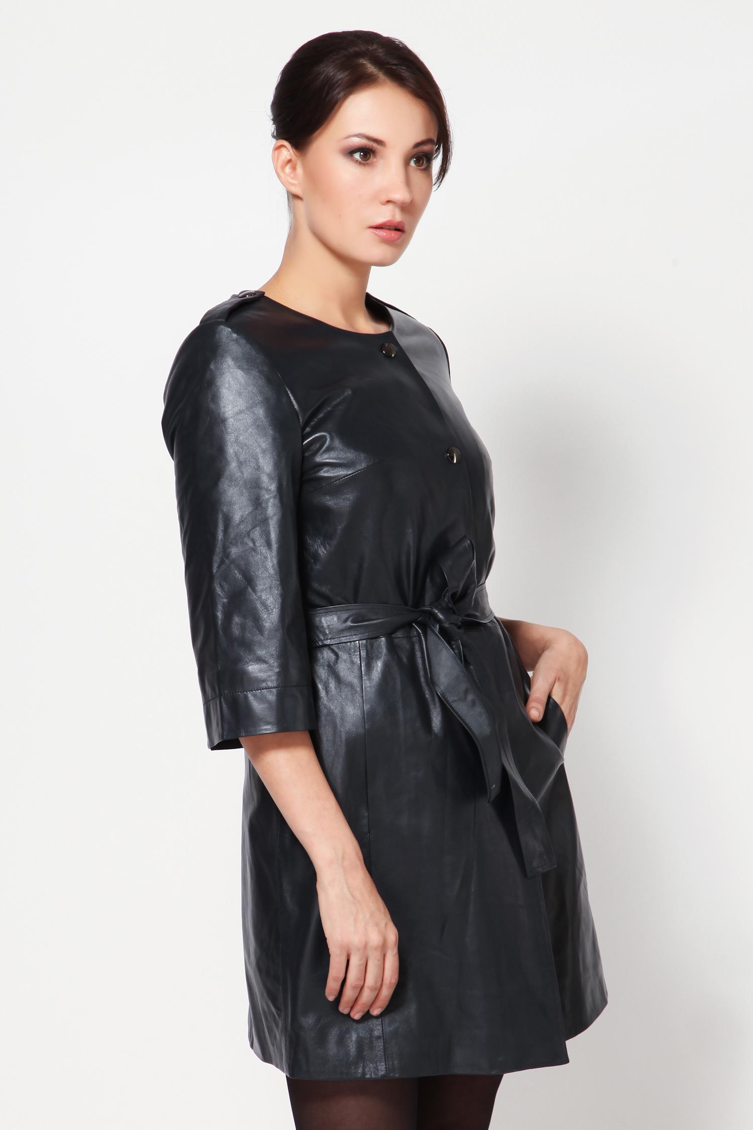 Женское кожаное пальто из натуральной кожи с воротником, без отделки<br><br>Воротник: Шанель<br>Длина см: 85<br>Материал: Плонже<br>Цвет: Синий<br>Пол: Женский