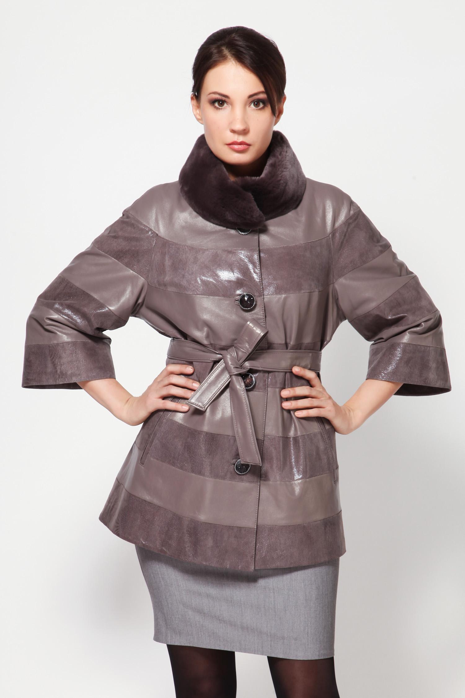 Женская кожаная куртка из натуральной замши и кожи с воротником, отделка кролик