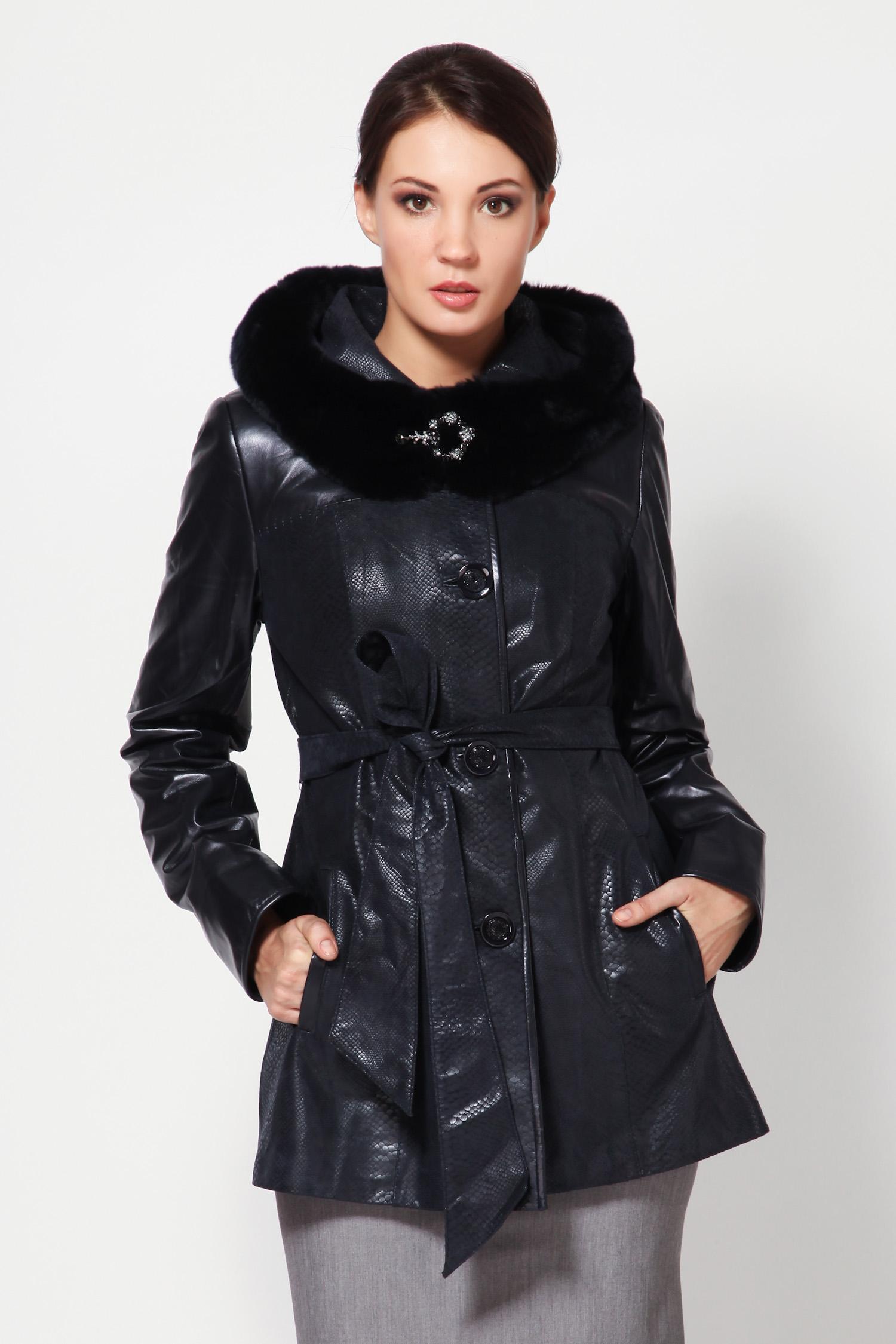 Женская кожаная куртка из натуральной замши и кожи с капюшоном, отделка кролик