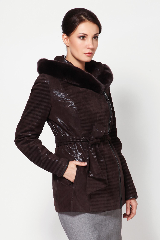 Женская кожаная куртка из натуральной замши с капюшоном, отделка кролик