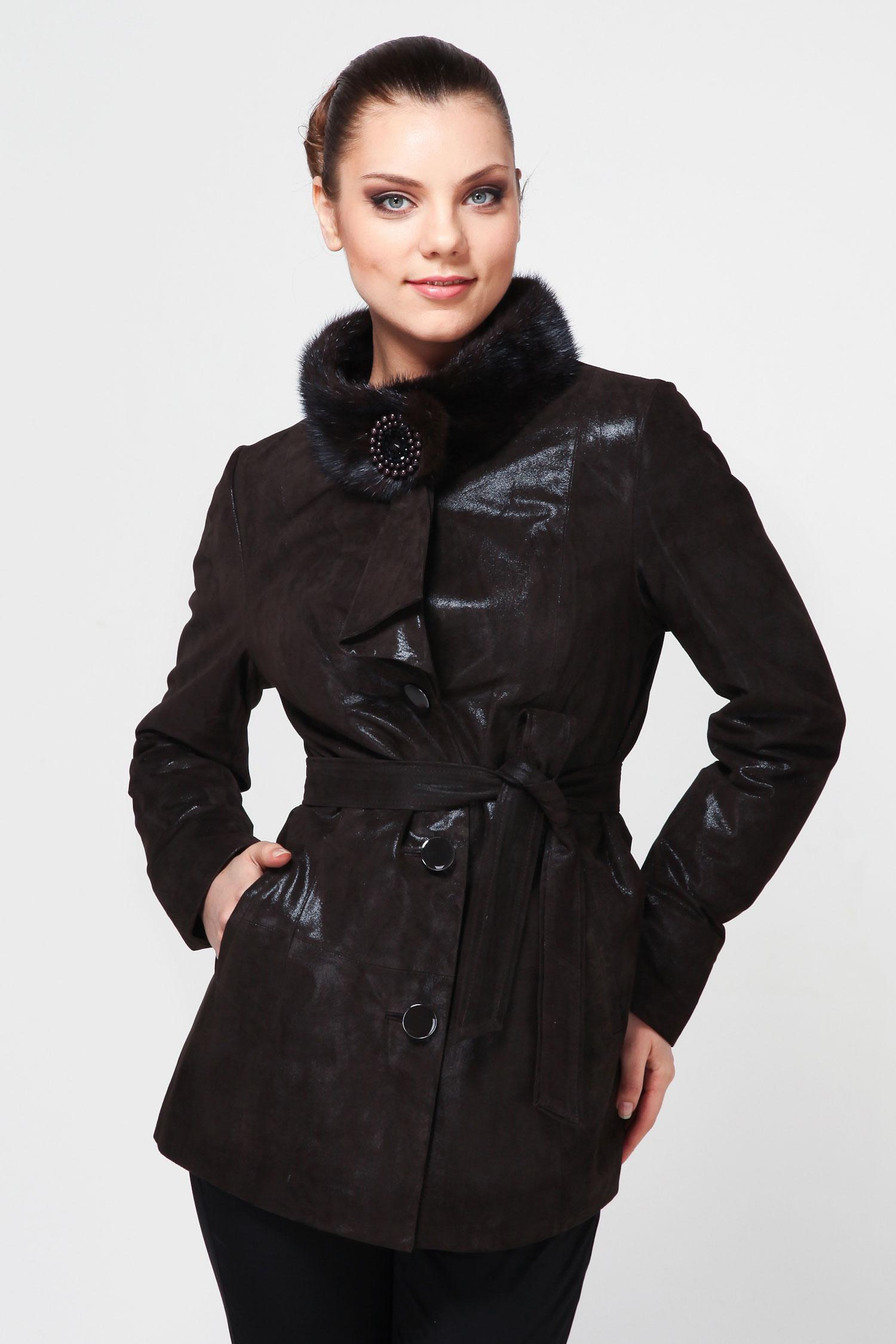 Женская кожаная курткая из натуральной кожи с воротником, отделка норка