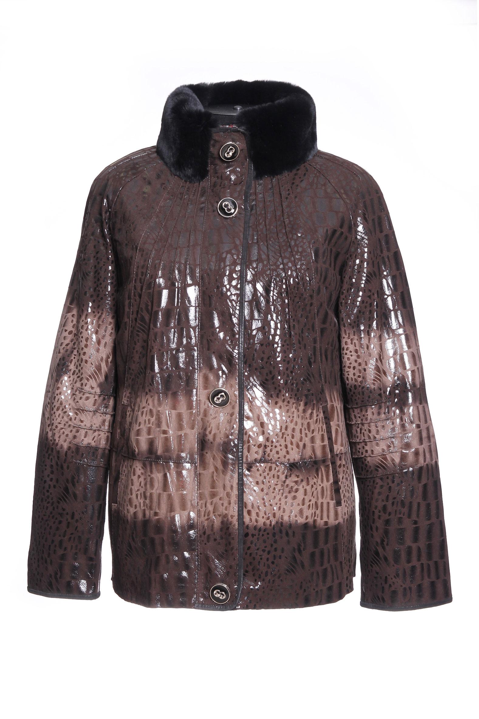 Женская кожаная куртка из натуральной кожи, отделка кролик