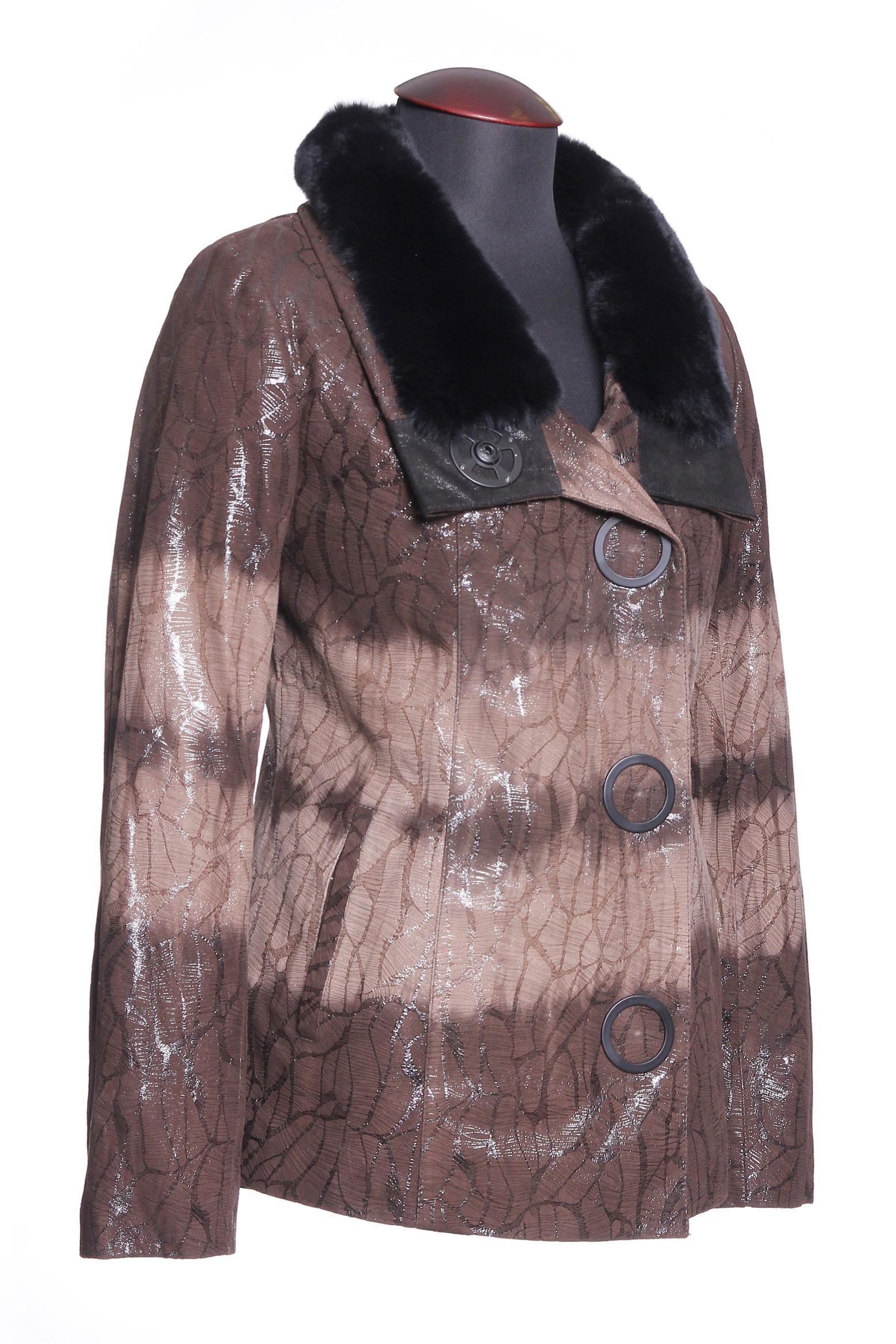 Женская кожаная куртка из натуральной замши (с накатом) с воротником, отделка кролик от Московская Меховая Компания