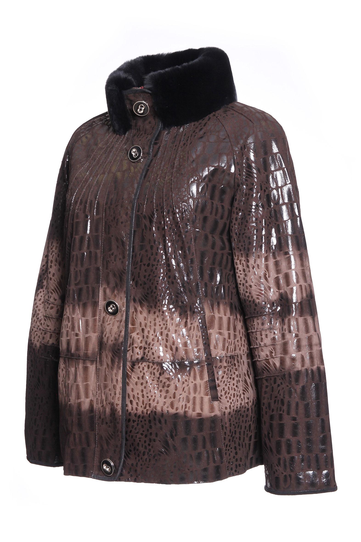Женская кожаная куртка из натуральной кожи, отделка кролик от Московская Меховая Компания