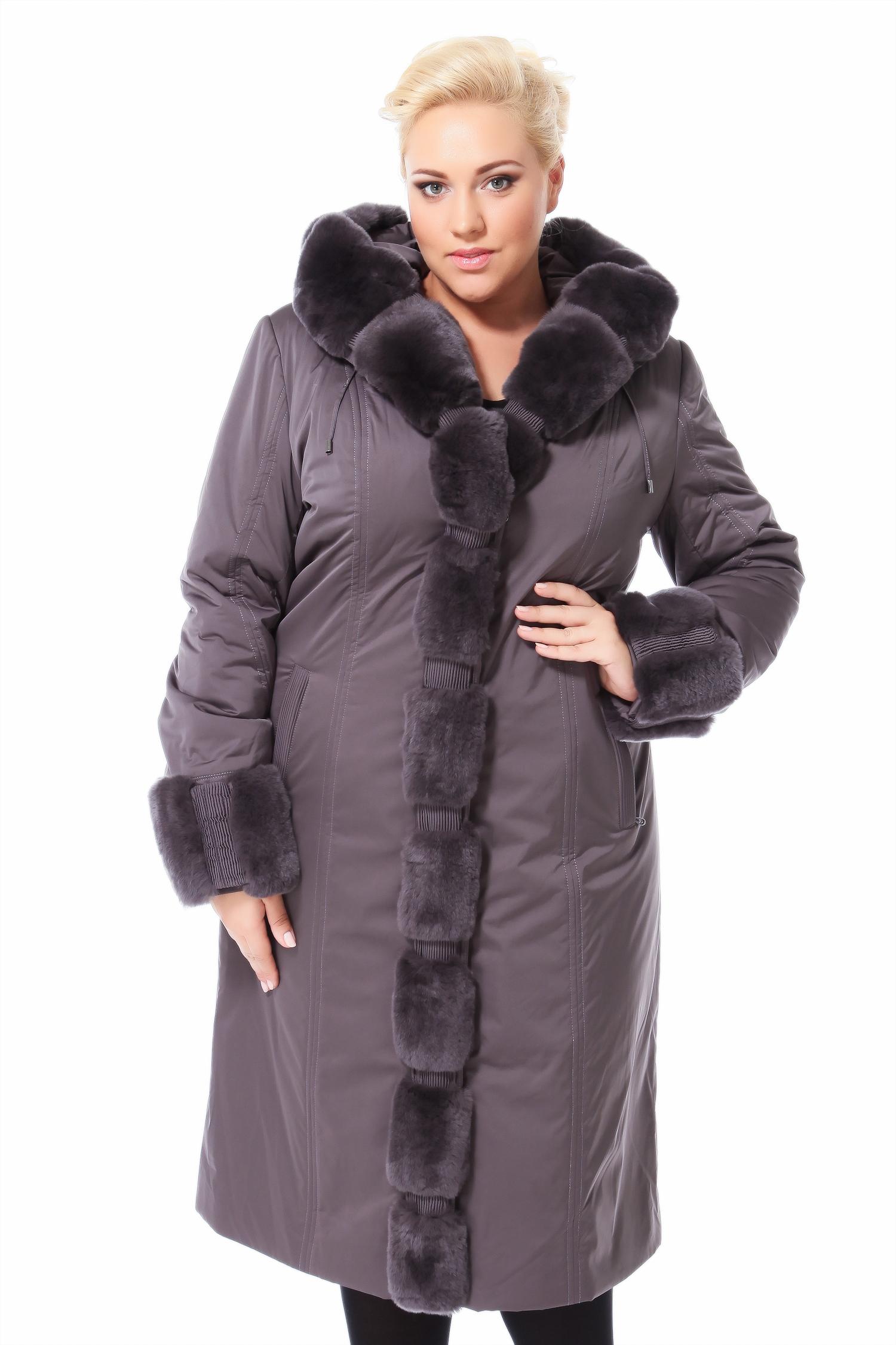 Пальто на меху с капюшоном, отделка кролик