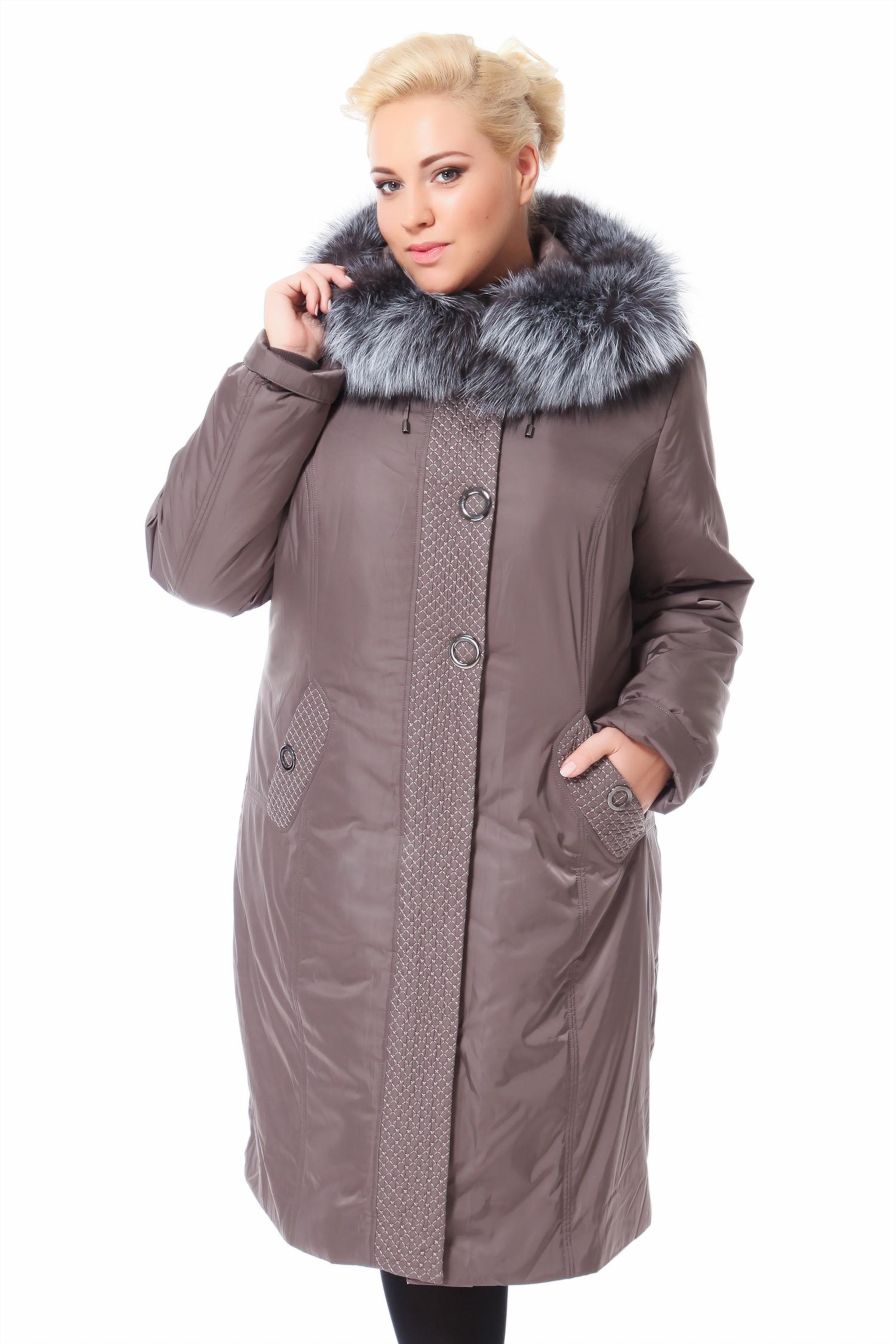 Пальто на меху с капюшоном, отделка чернобуркаЦвет  бежево-серый.<br><br>Пальто-пихора сшито из полиэстера. Отделка выполнена из меха черно-бурой лисы. В качестве утеплителя использован синтепон, а также подстежка из меха кролика.<br><br>Пихора - это симбиоз практичности, тепла и комфорта, благодаря легкой и невероятно теплой подстежки из меха кролика и полиэстеру, который отталкивает воду и не пропускает ветер. Модель идеально сядет как на изящную фигуру, так и дамы округлых форм смогут себя чувствовать в ней достаточно комфортно. Отстегивающаяся подстежка из кролика позволит носить пальто в довольно широком температурном диапазоне. Глубокий капюшон, отороченный чернобуркой, защитит от ветра и холода. Не смотря на монохромность модели, удачно выбранный бежево-серый оттенок, придает невероятную динамику образу, благодаря фактурным особенностям полиэстера из которого сшита модель.<br><br>Воротник: капюшон<br>Длина см: Длинная (свыше 90)<br>Материал: Текстиль<br>Цвет: серый<br>Вид застежки: центральная<br>Застежка: на молнии<br>Пол: Женский<br>Размер RU: 52