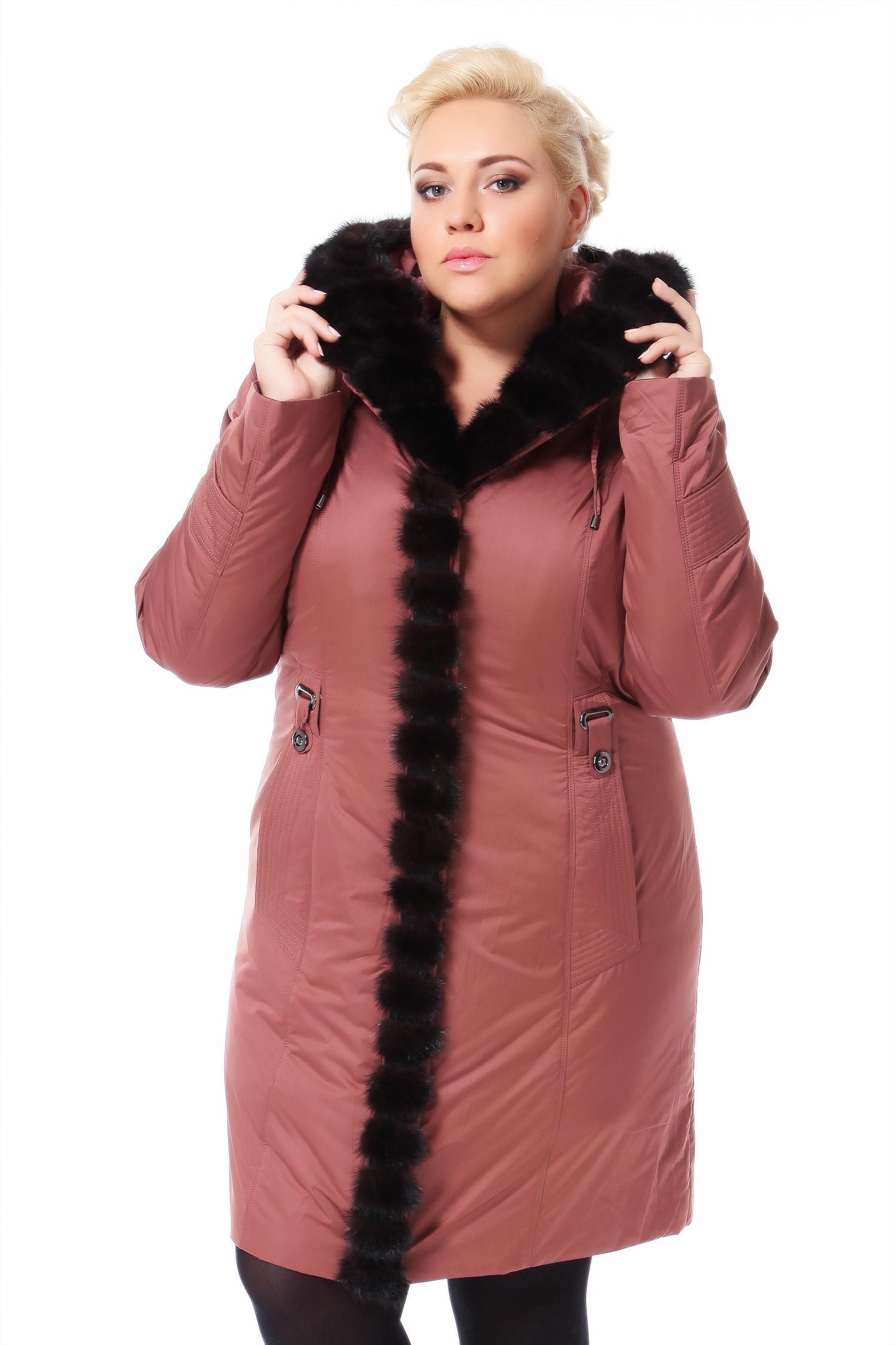 Пальто на меху с капюшоном, отделка норкаЦвет  сливочно-брусничный.<br><br>Пальто-пихора сшито из полиэстера. Отделка выполнена из меха норки. В качестве утеплителя использован синтепон, а также подстежка из меха кролика.<br><br>Модель идеально сядет на изящную фигуру, а также дамы округлых форм смогут себя чувствовать в ней достаточно комфортно. За счет использования инновационных технологий, пальто из полиэстера на подкладке из меха кролика такое легкое, что его вес практически не чувствуется на плечах. Глубокий капюшон выручит в отсутствие головного убора, ведь при такой роскошной меховой отделке вряд ли Вам захочется носить на голове что-то другое. Мех норки греет, и украшает придавая особый шарм застежке модели. Пальто-пихора идеально подходит для холодного времени года, благодаря тому, что отталкивает воду и не пропускает ветер, легко чистится, а для городских зим  это весьма актуально.<br><br>Воротник: капюшон<br>Длина см: Длинная (свыше 90)<br>Материал: Текстиль<br>Цвет: коричневый<br>Пол: Женский<br>Размер RU: 50