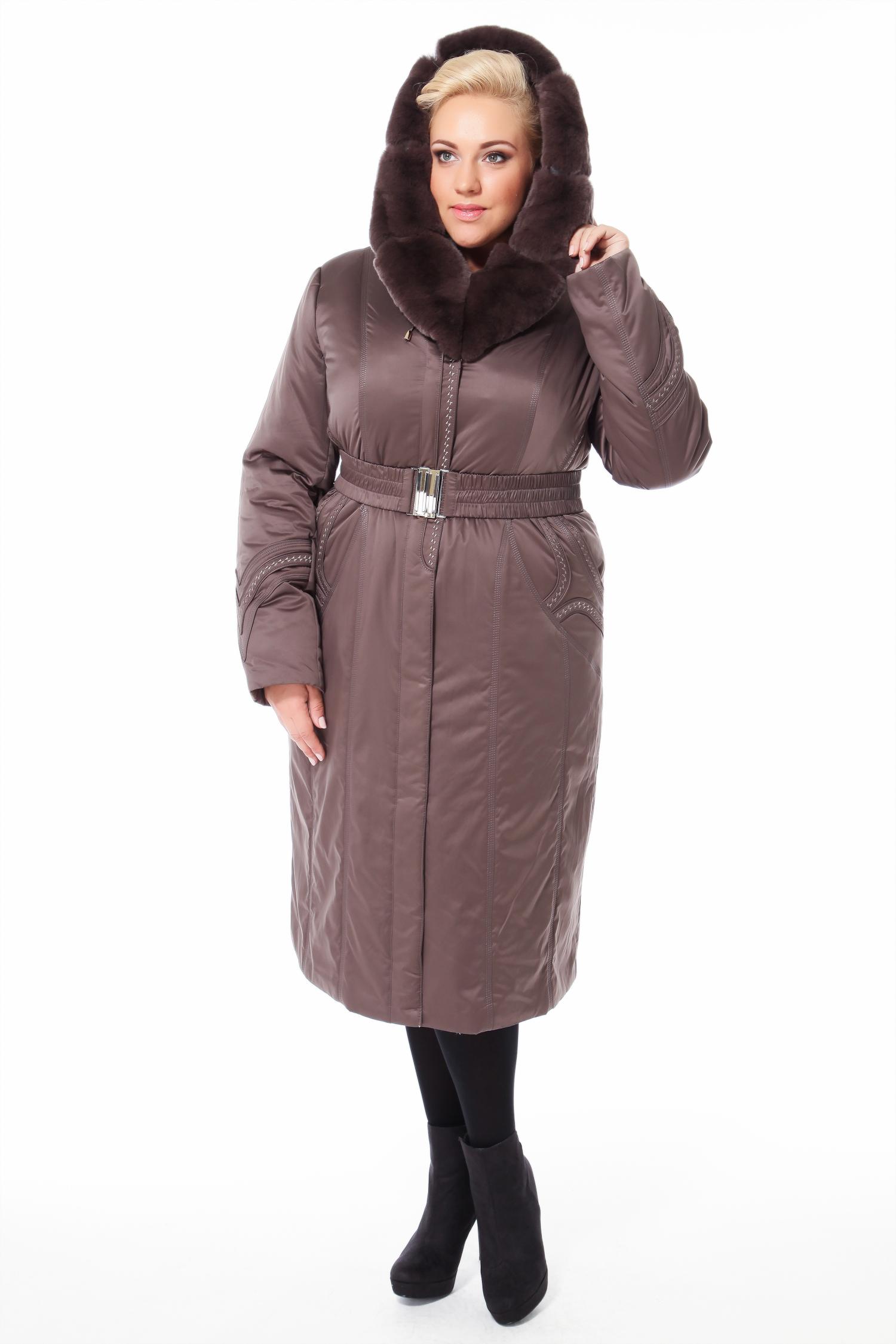 Пальто на меху с капюшоном, отделка кролик от Московская Меховая Компания
