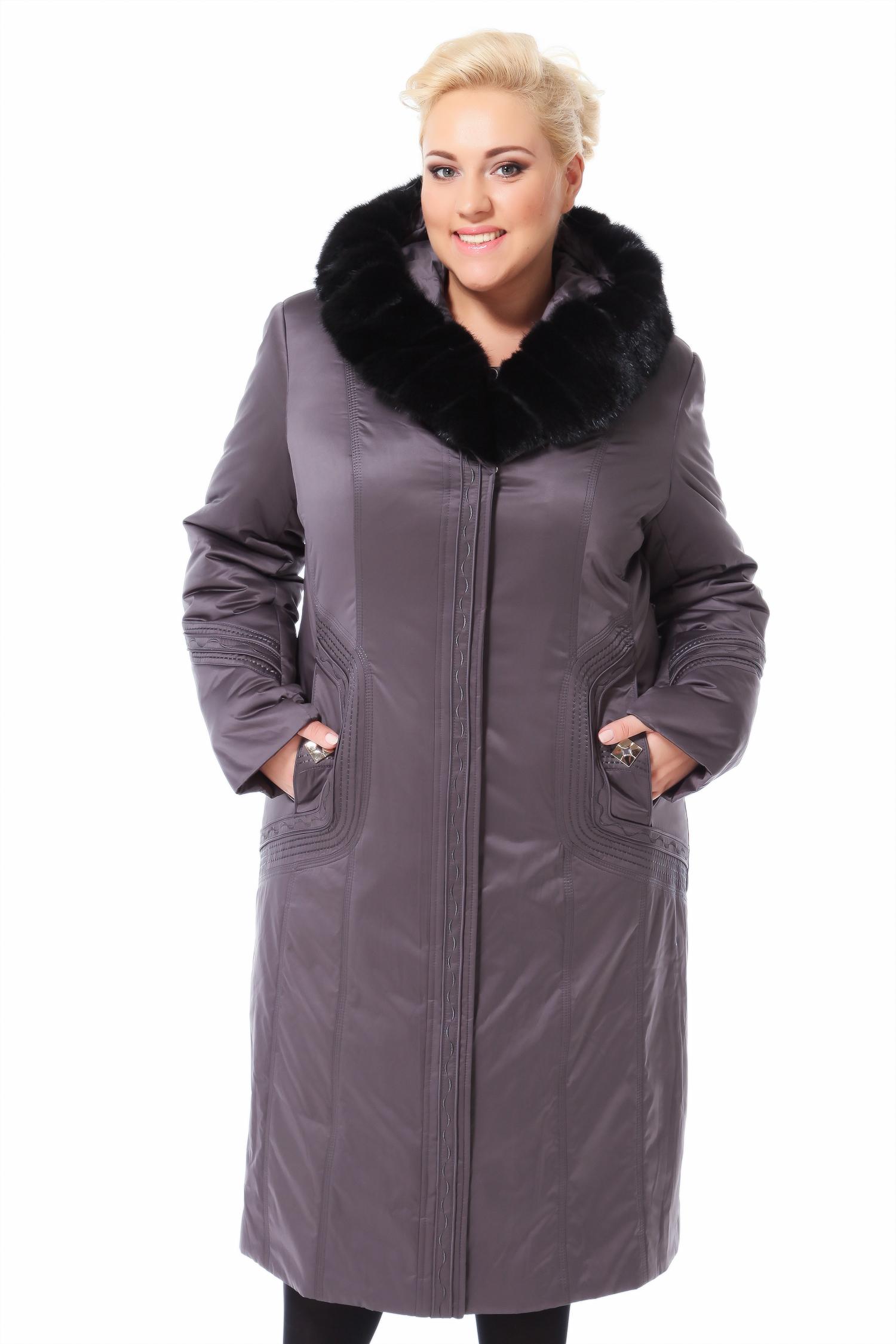 Пальто на меху с капюшоном, отделка норка