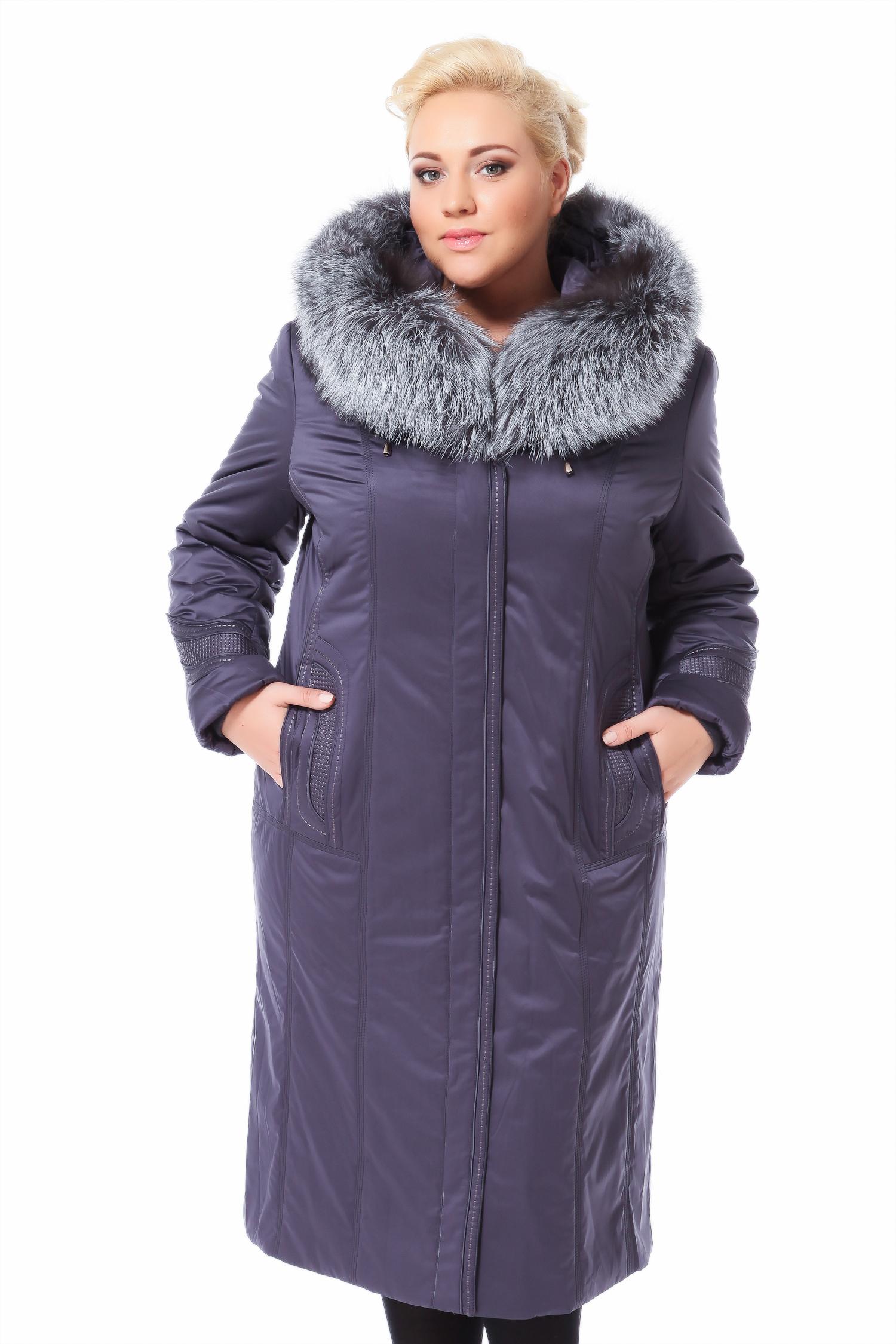 Пальто на меху с капюшоном, отделка чернобурка